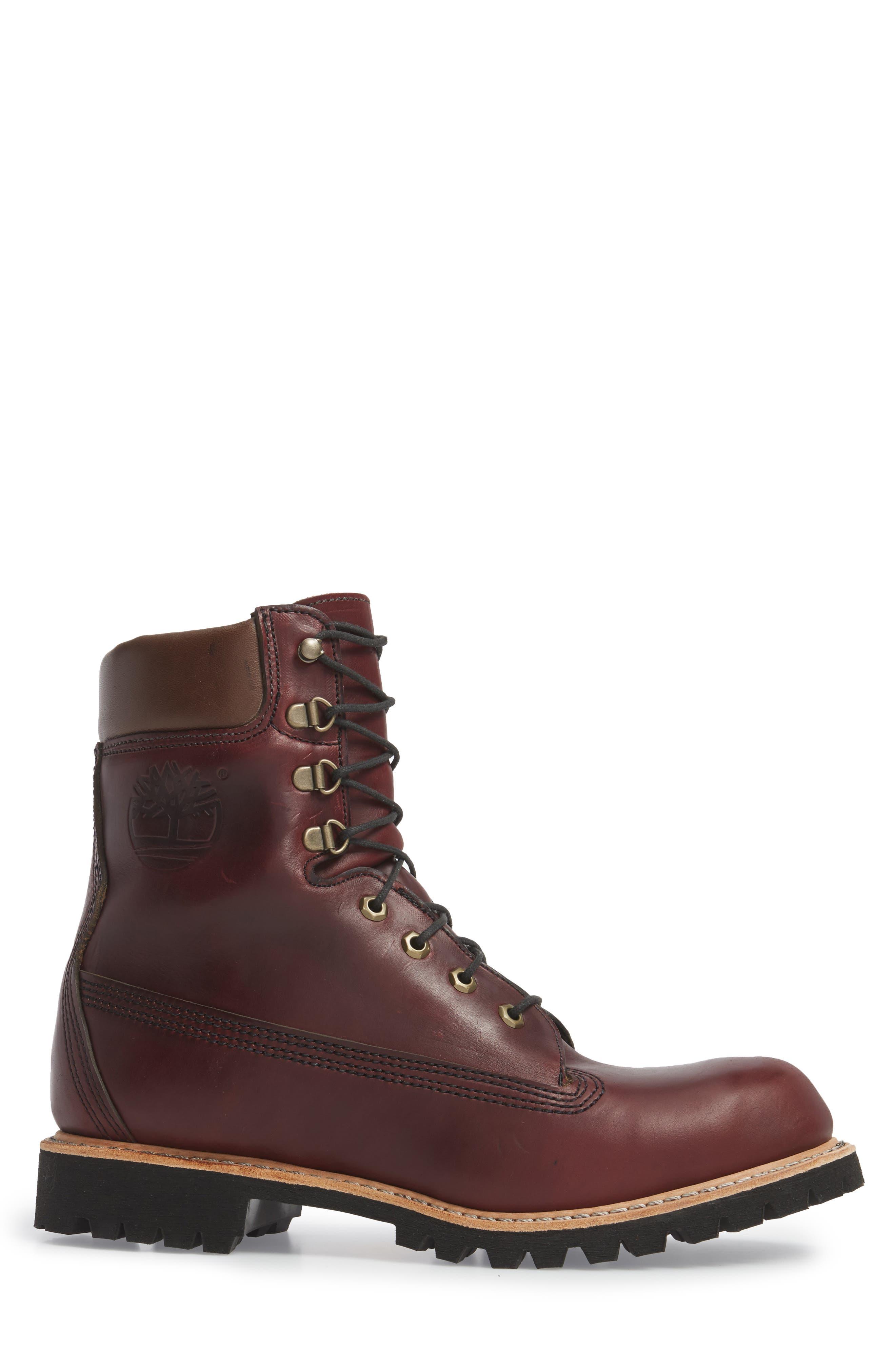 Plain Toe Boot,                             Alternate thumbnail 3, color,                             Burgundy Chromexel Horween