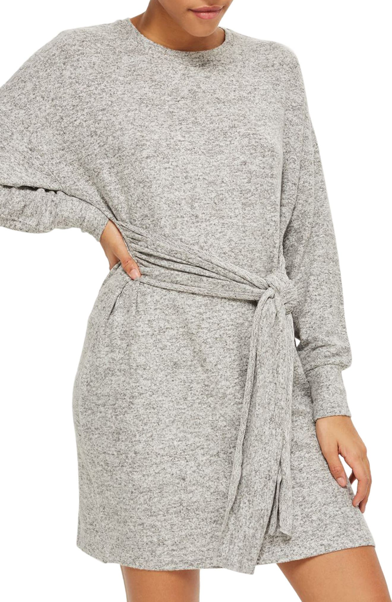 Topshop Tie Front Sweater Dress