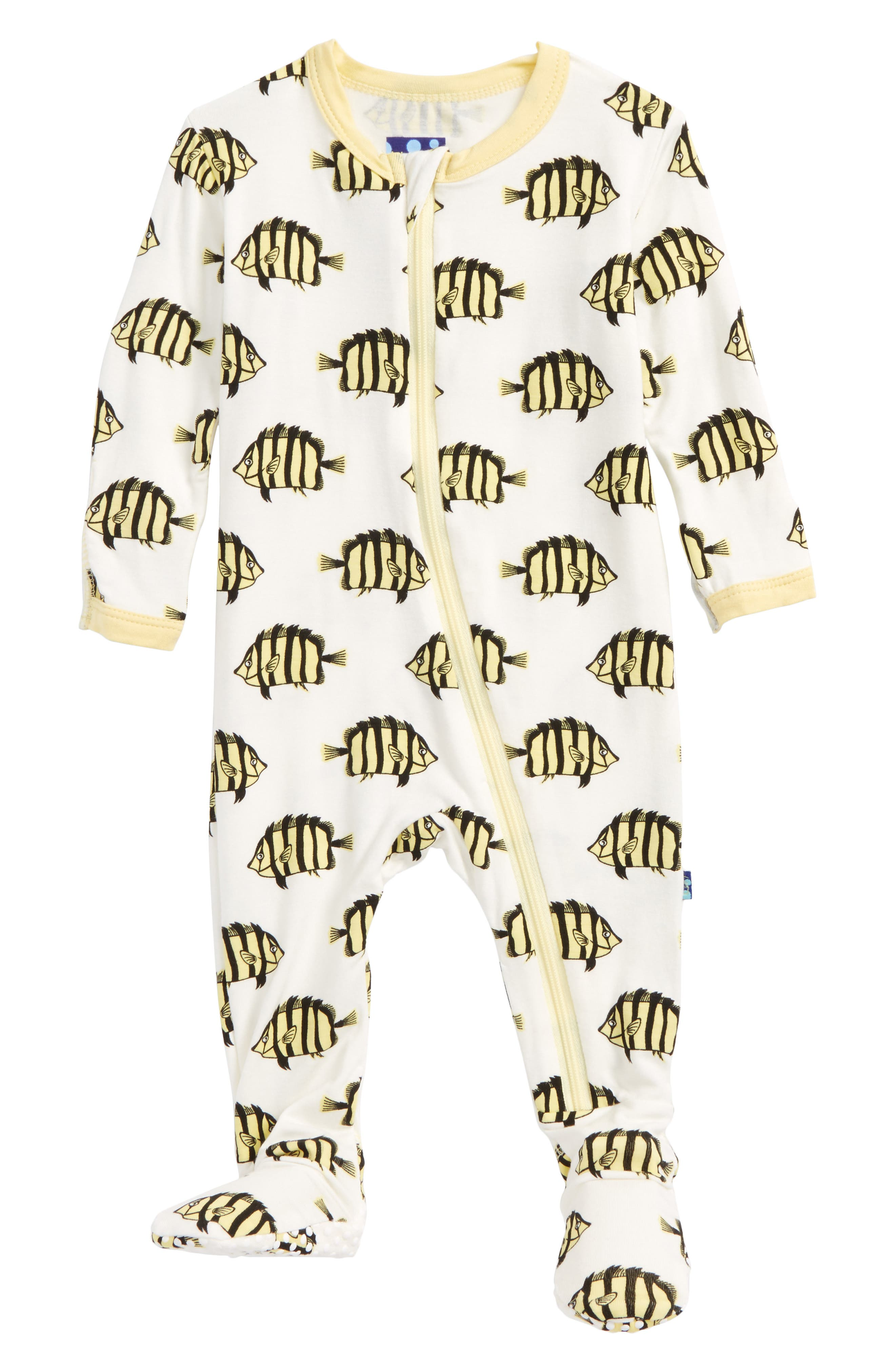 Print Footie,                             Main thumbnail 1, color,                             Natural/ Butterflyfish
