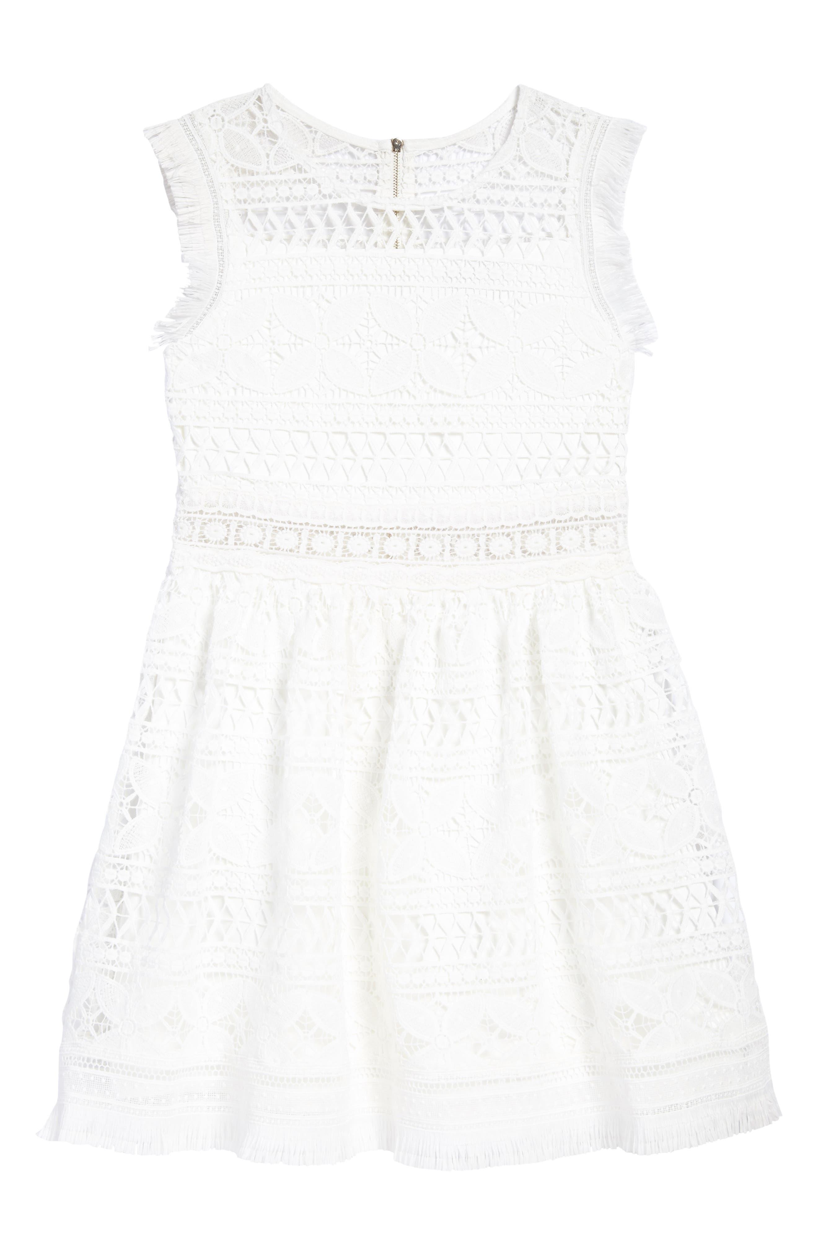 Hannah Banana Fringe Trim Lace Dress (Big Girls)