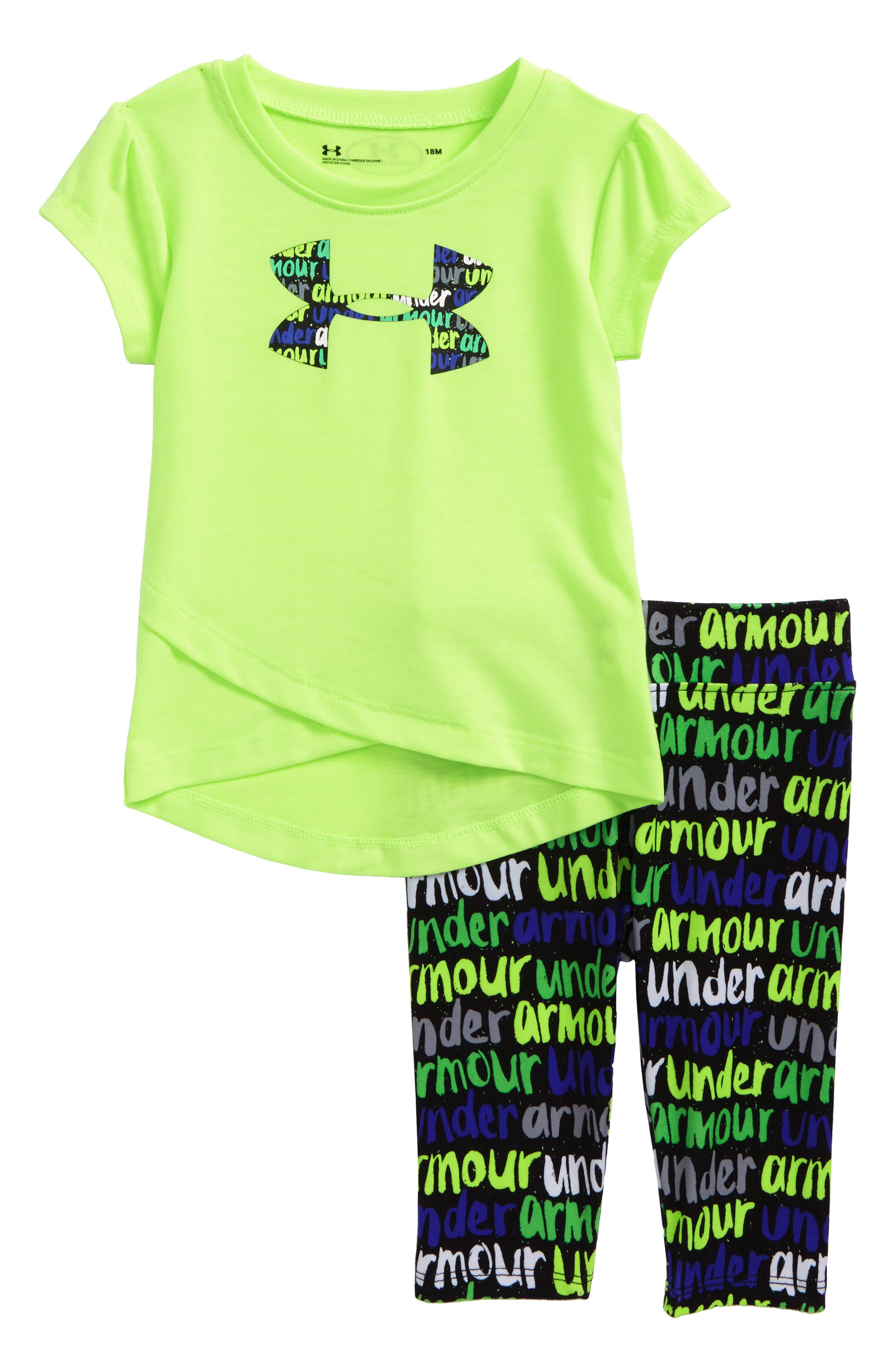 Big Logo Tee & Leggings Set,                             Main thumbnail 1, color,                             Quirky Lime
