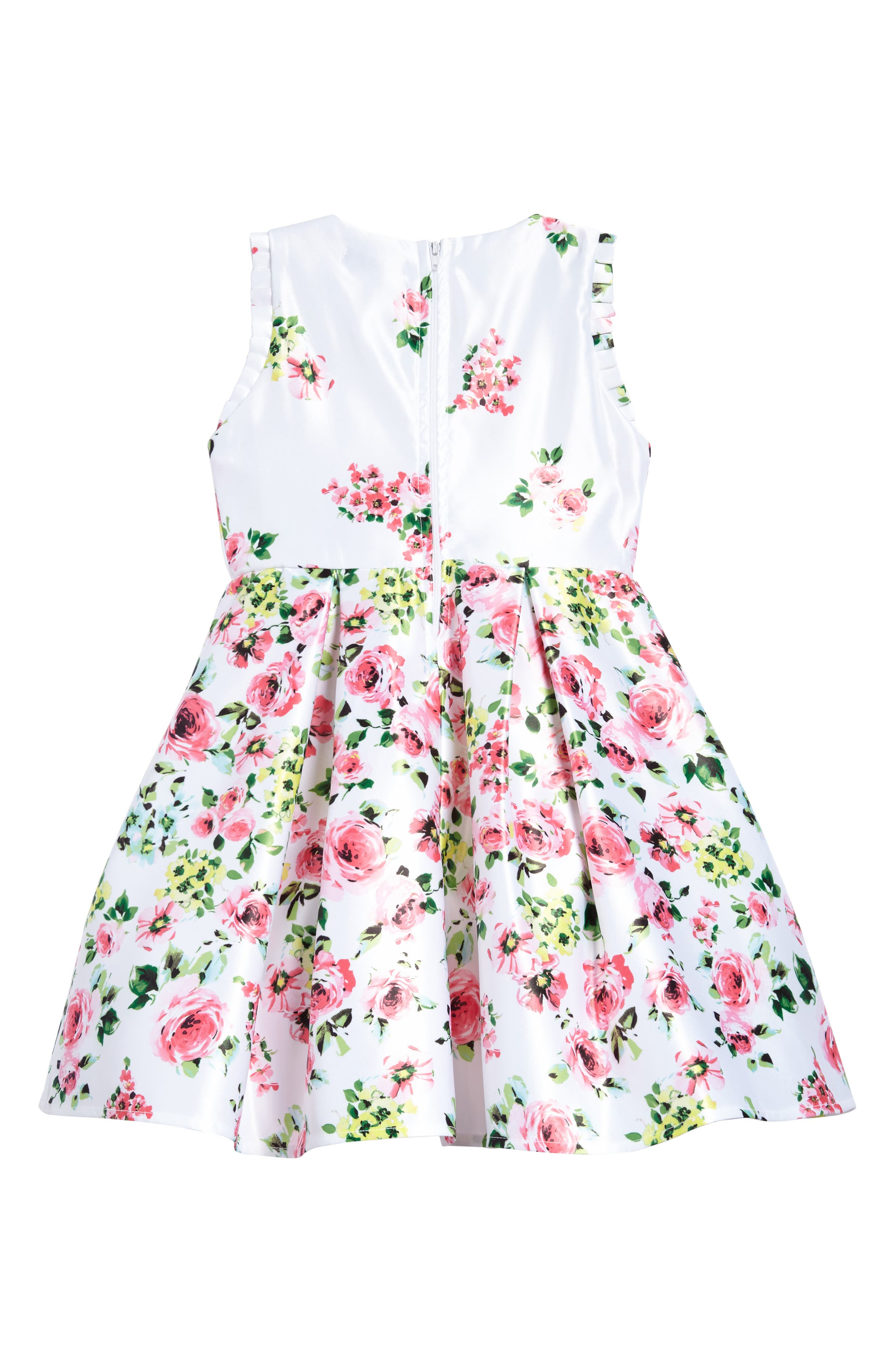 Alternate Image 2  - Ava & Yelly Floral Bow Front Dress (Toddler Girls & Little Girls)