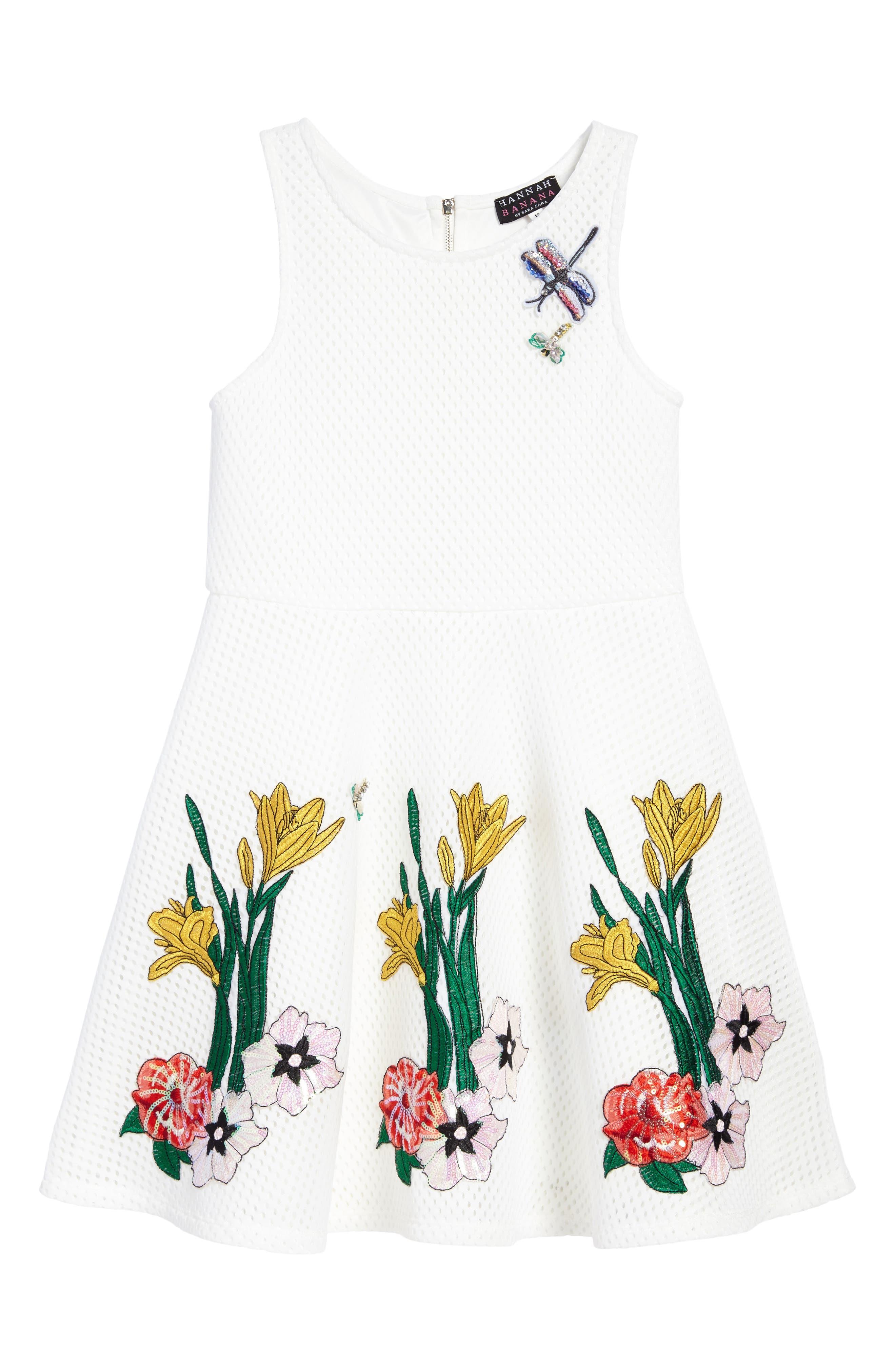 Appliqué Fit & Flare Dress,                         Main,                         color, White