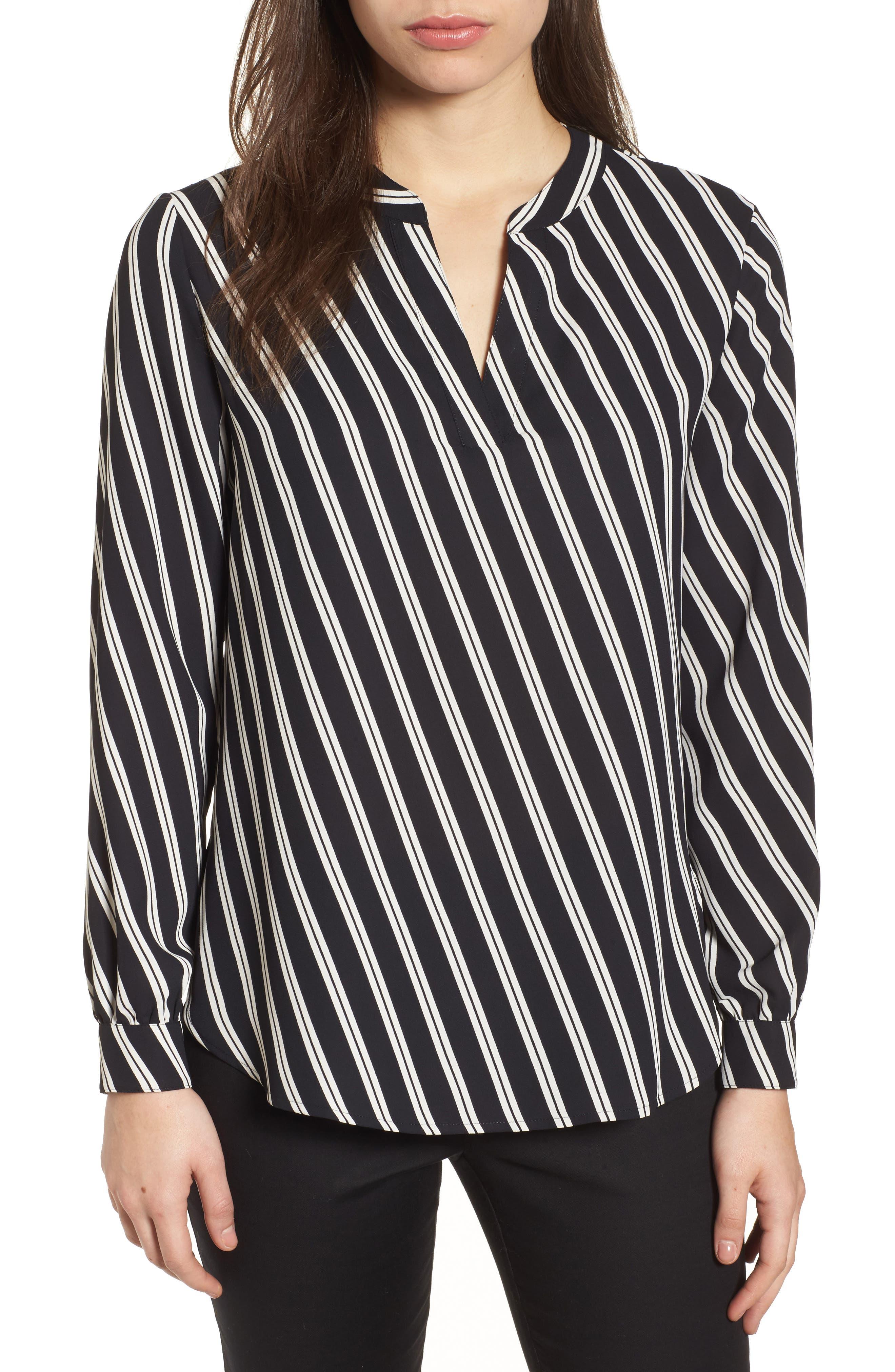 Stripe V-Neck Blouse,                             Main thumbnail 1, color,                             Black/ Parchment