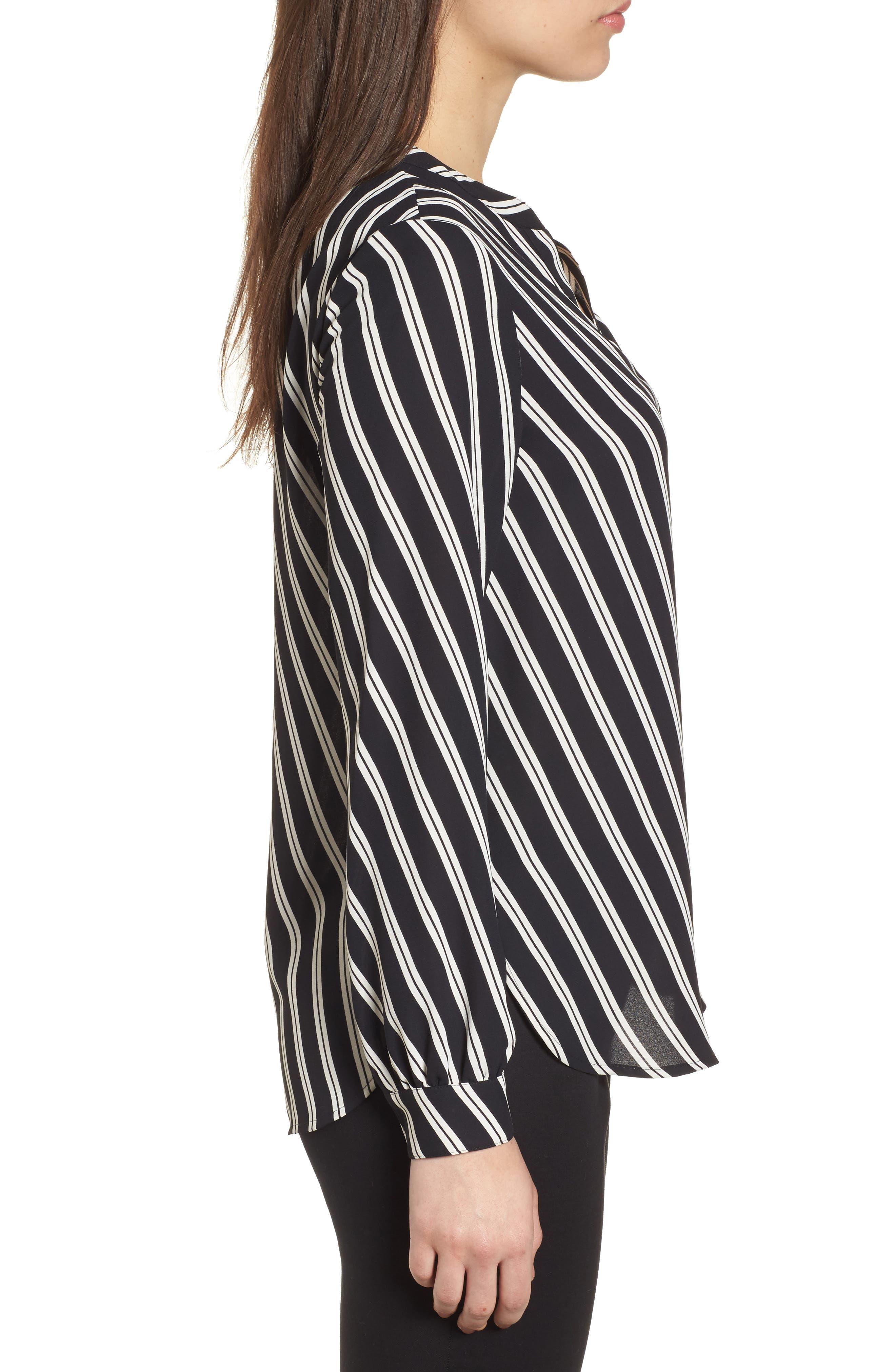 Stripe V-Neck Blouse,                             Alternate thumbnail 3, color,                             Black/ Parchment
