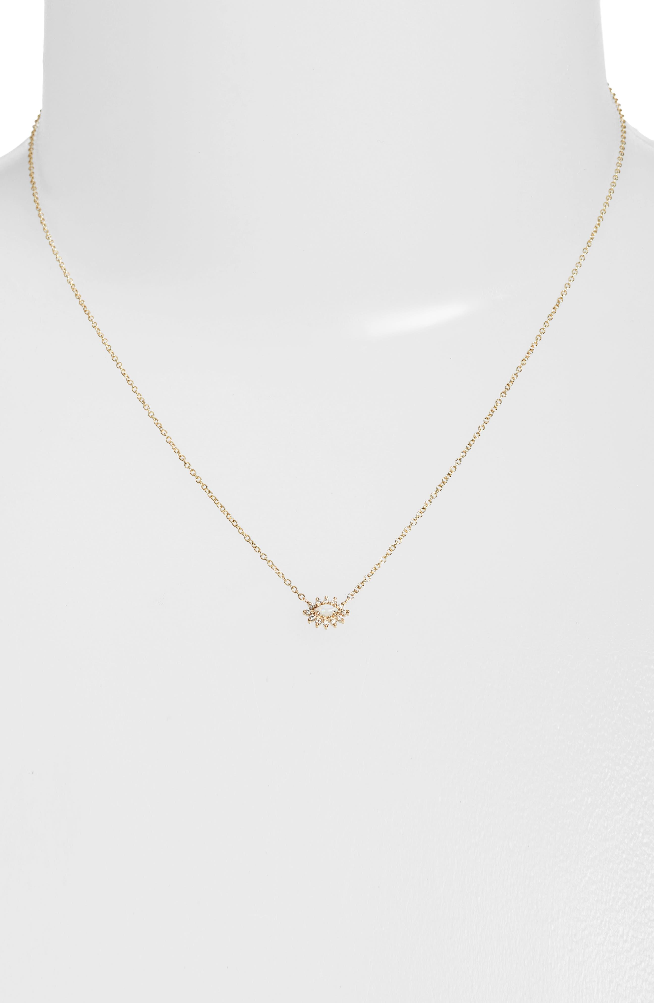 Diamond & Opal Cluster Pendant Necklace,                             Alternate thumbnail 2, color,                             Yellow Gold/ Opal