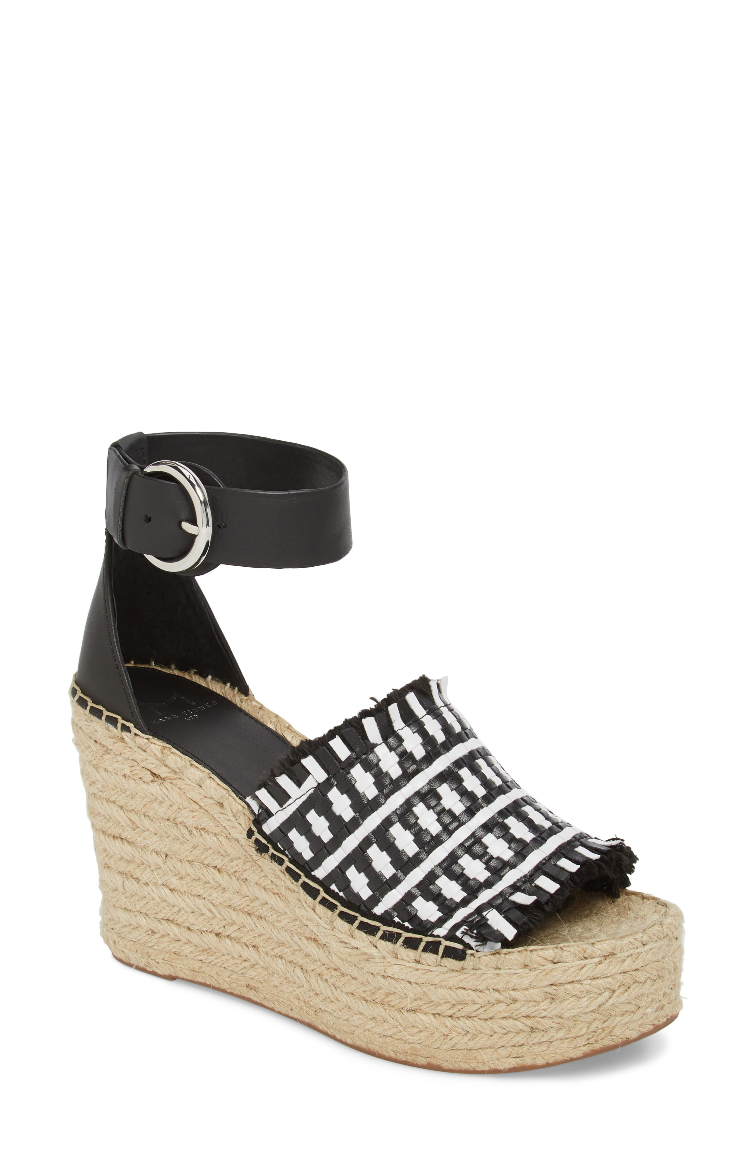 Andrew Espadrille Wedge Sandal,                             Main thumbnail 1, color,                             White/ Black Leather