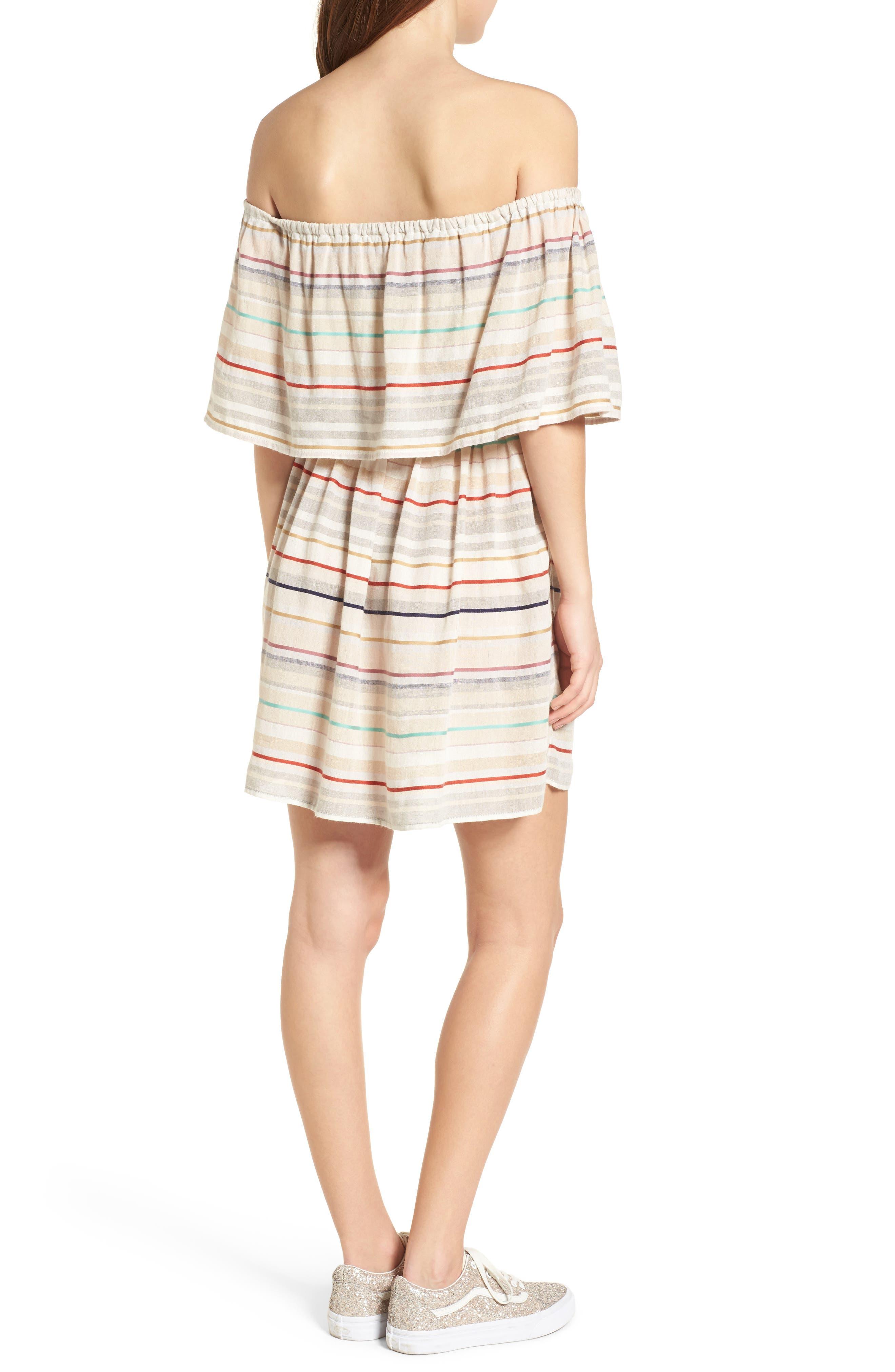 Stripe Off the Shoulder Dress,                             Alternate thumbnail 2, color,                             Beige Nougat Multi Stripe