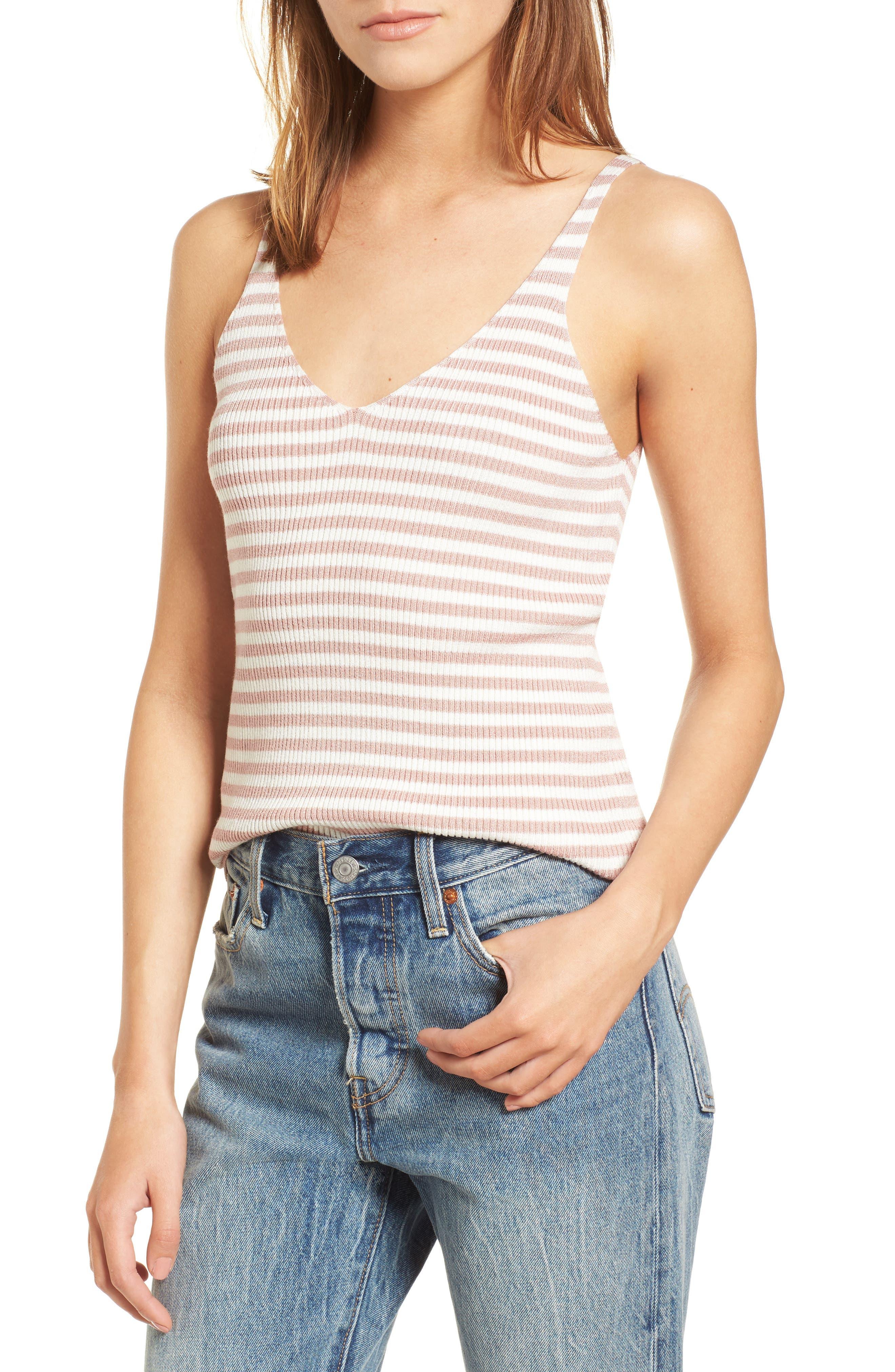 Stripe Sweater Camisole,                         Main,                         color, Pink/ White Stripe