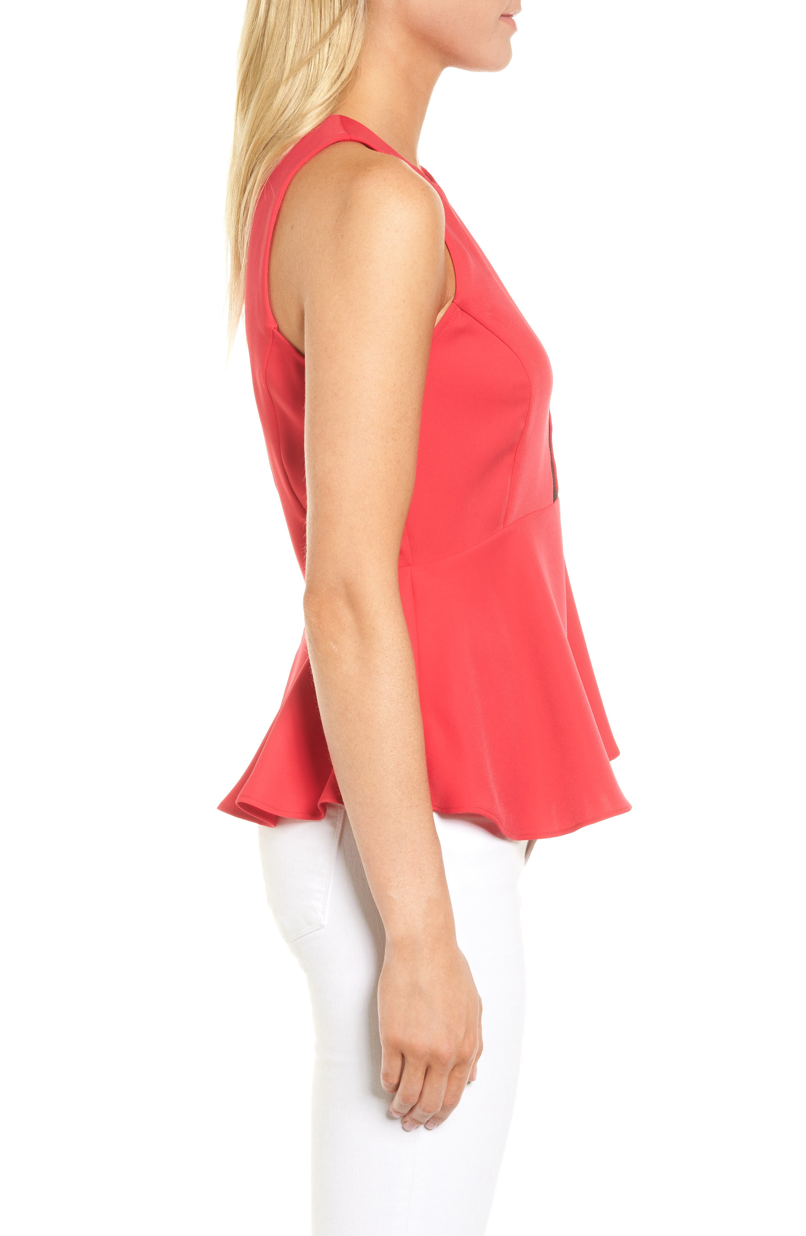 Date Peplum Top,                             Alternate thumbnail 3, color,                             Red Barberry