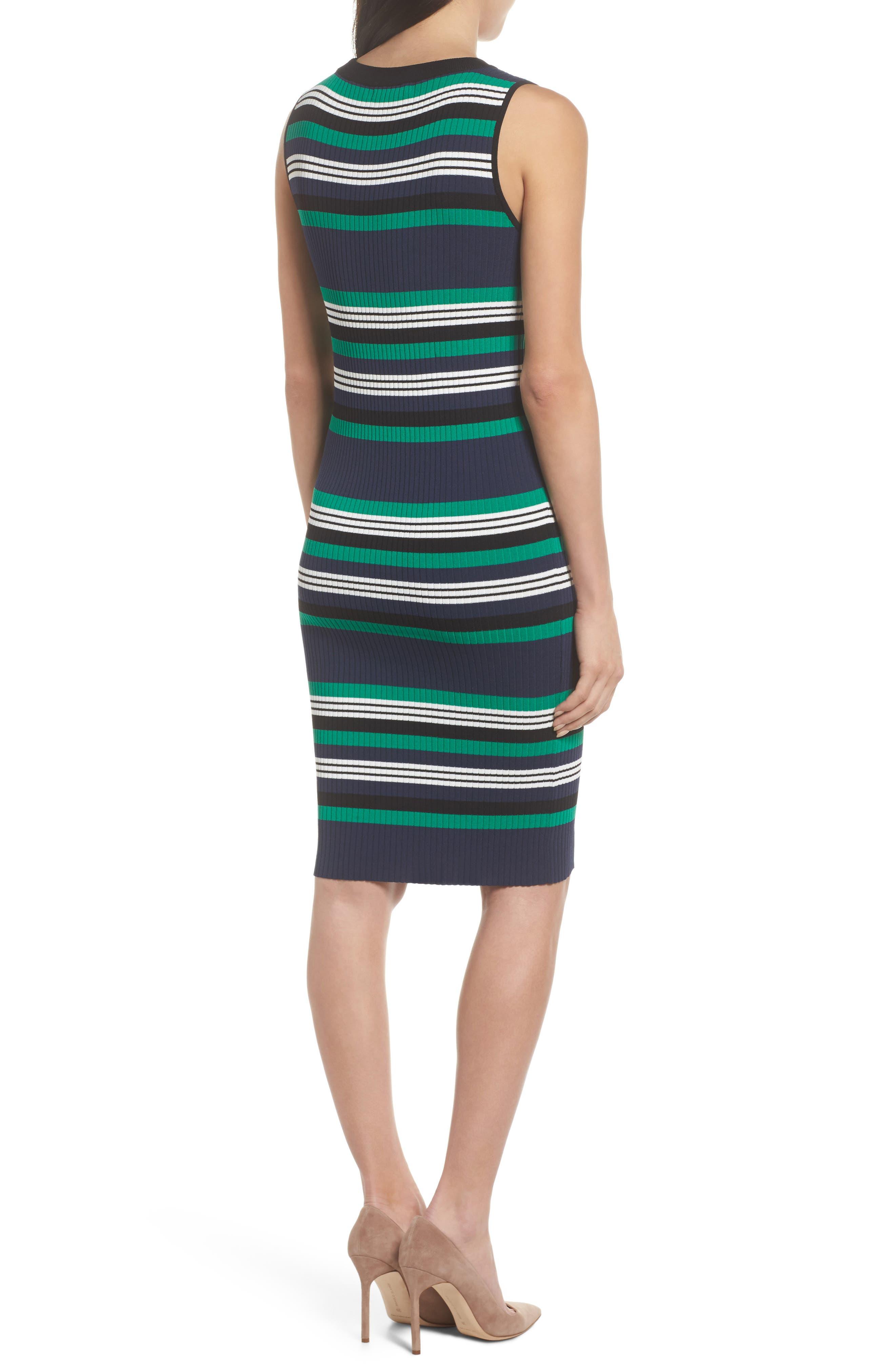 Callie Stripe Body-Con Dress,                             Alternate thumbnail 2, color,                             Navy