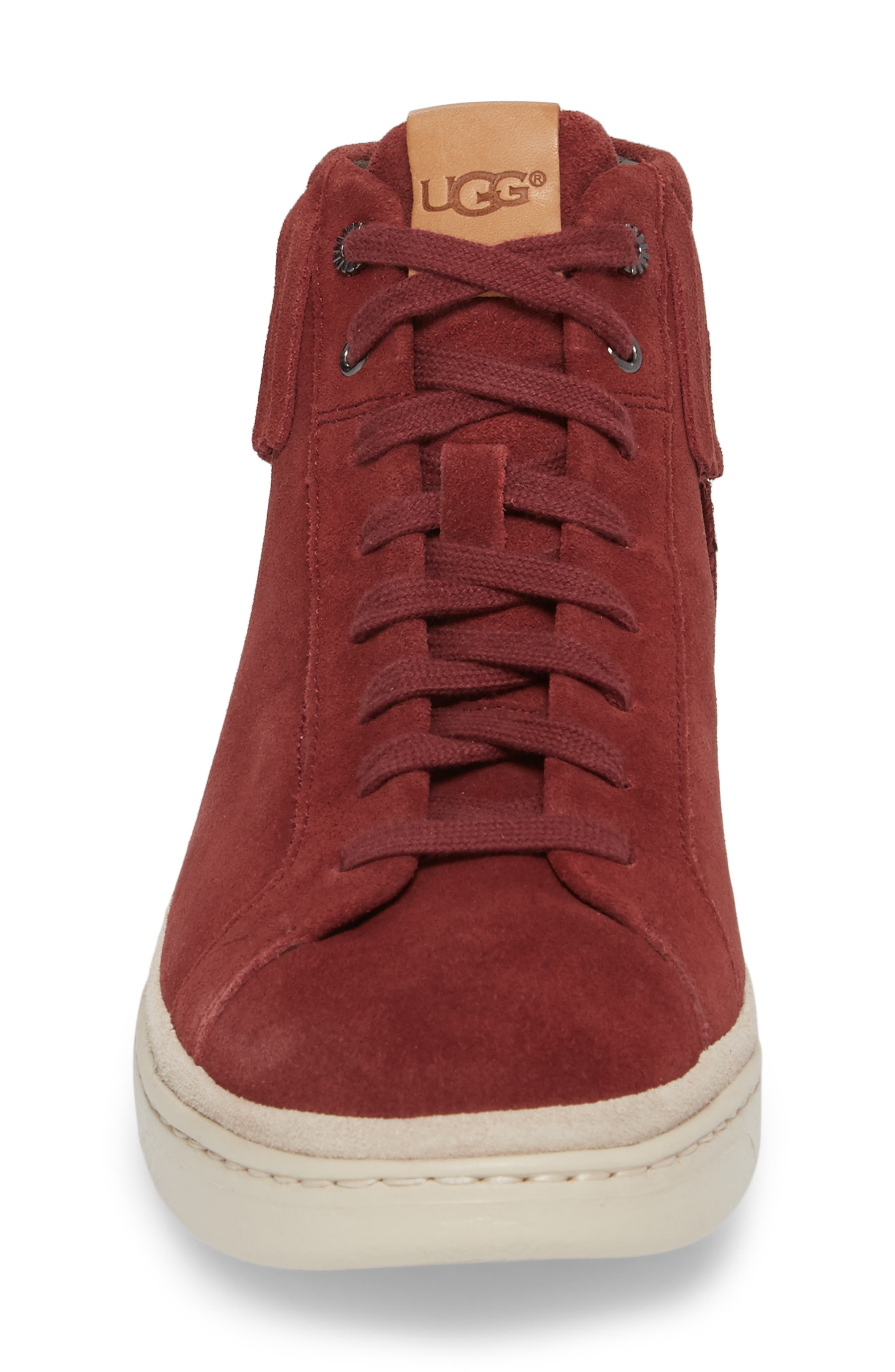 Brecken Fringe High-Top Sneaker,                             Alternate thumbnail 4, color,                             Pinot Noir Leather