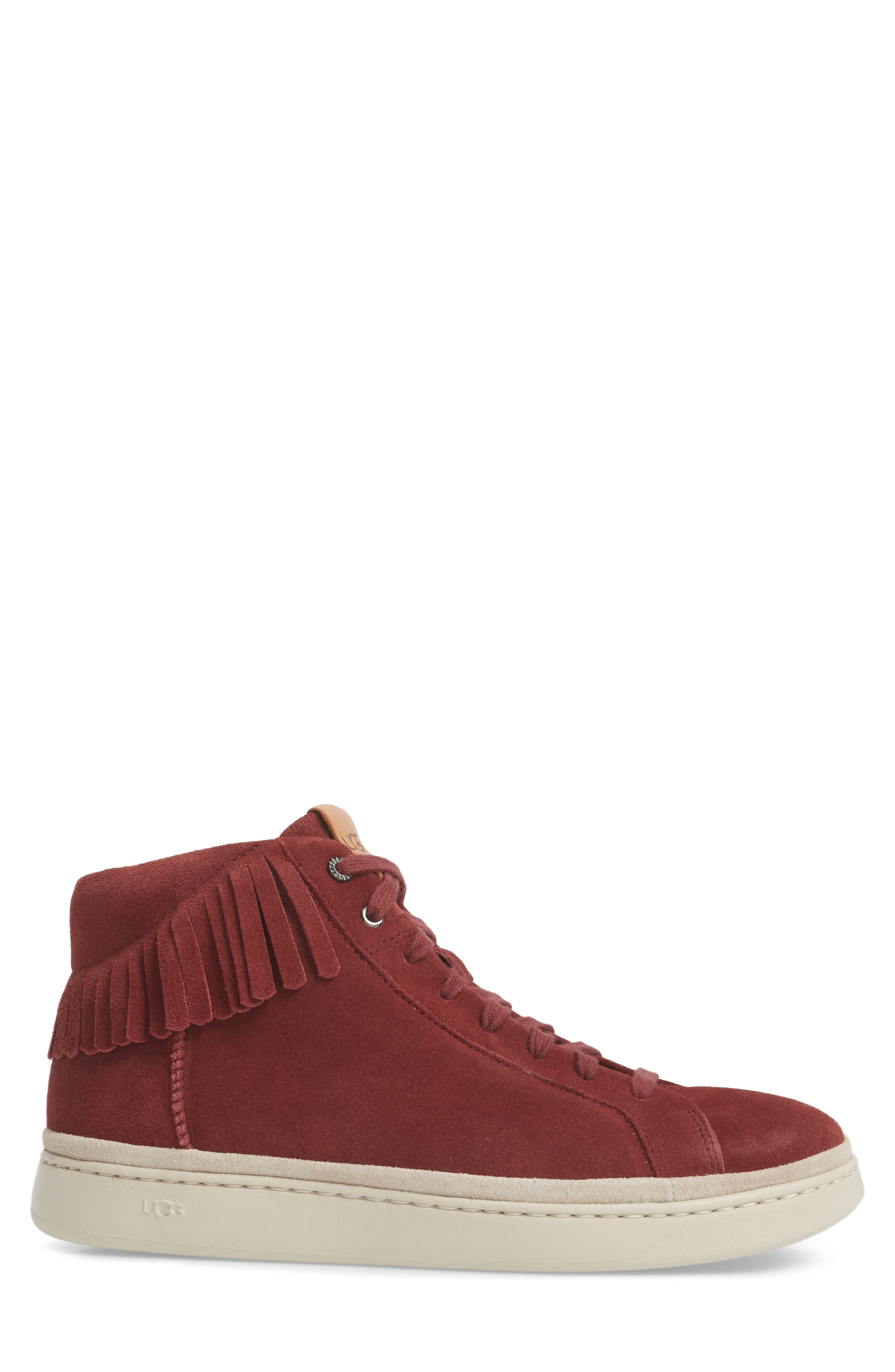 Brecken Fringe High-Top Sneaker,                             Alternate thumbnail 3, color,                             Pinot Noir Leather