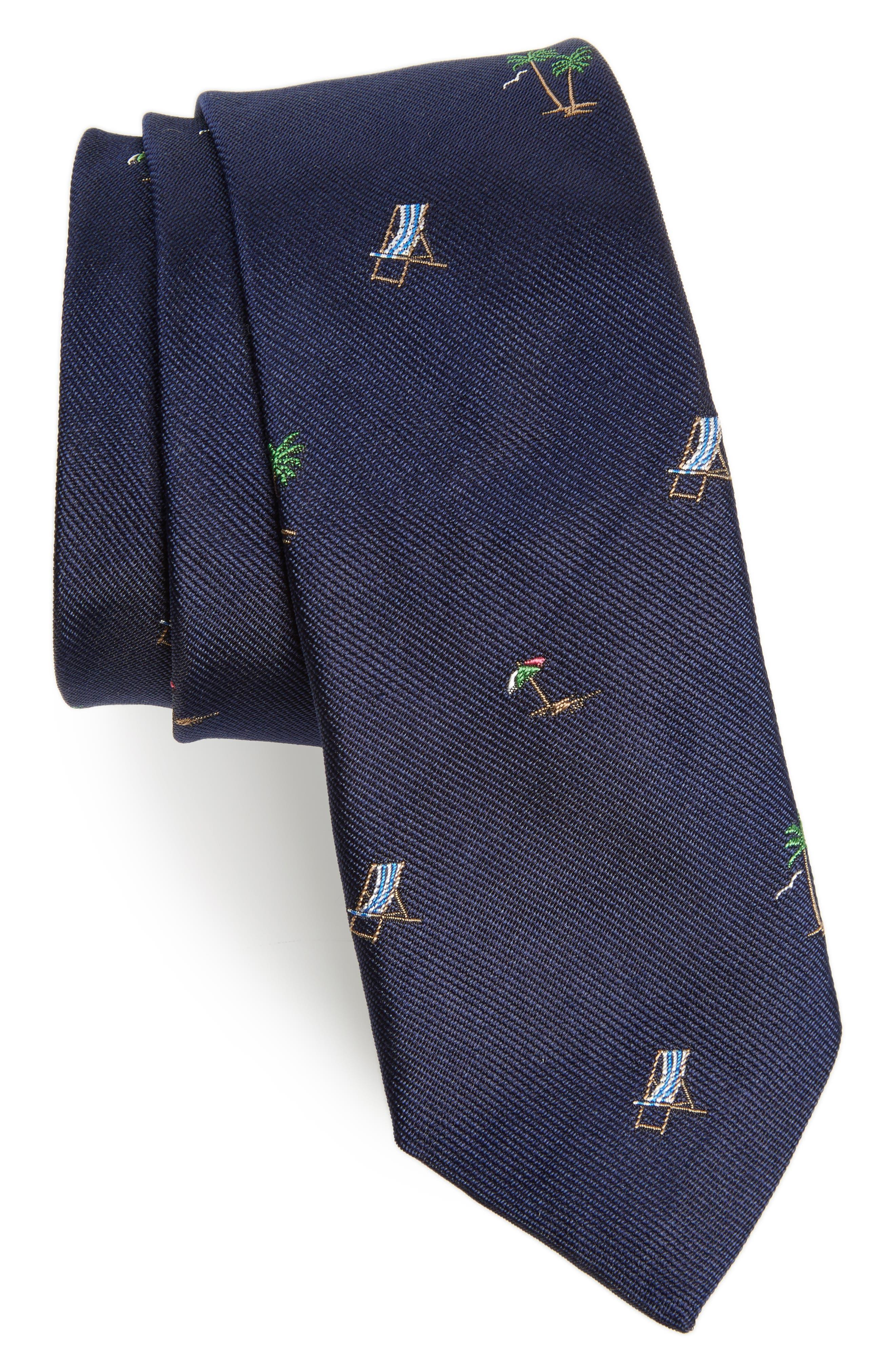 Vacation Silk Tie,                             Main thumbnail 1, color,                             Navy