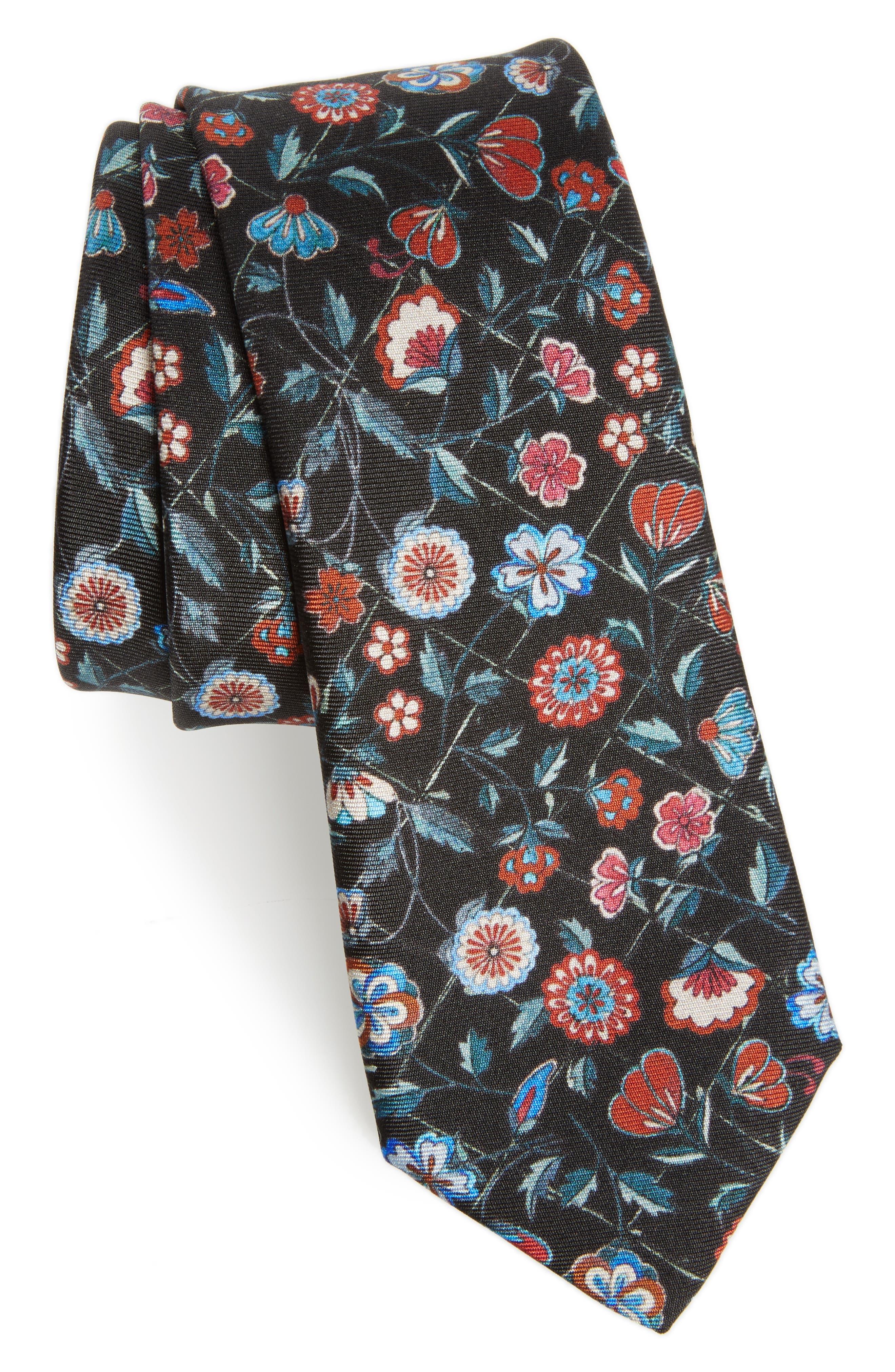 Floral Silk Tie,                             Main thumbnail 1, color,                             Black