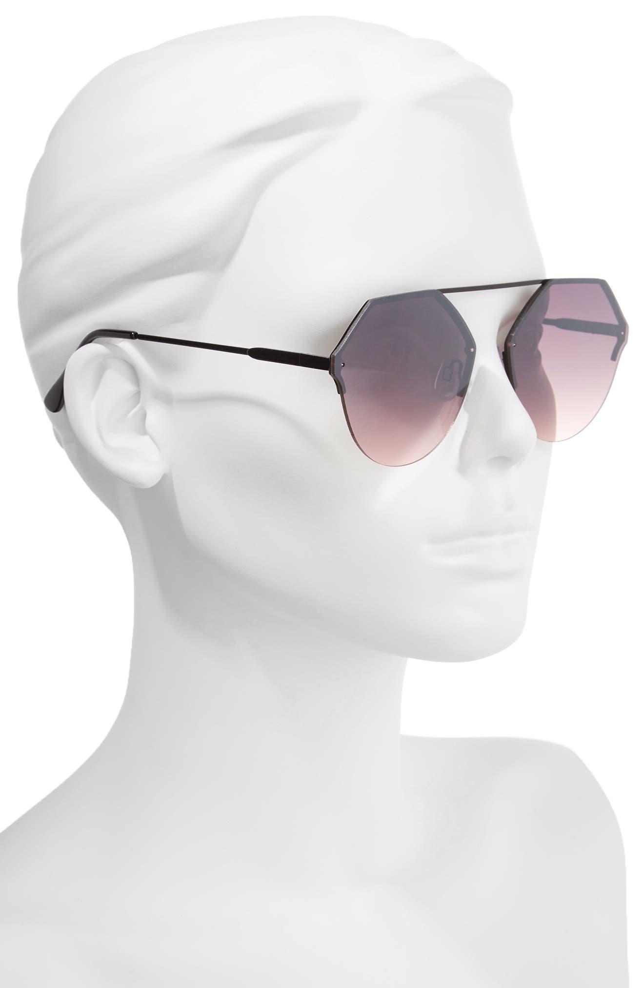 Metal Flat Brow Bar Geometric Sunglasses,                             Alternate thumbnail 2, color,                             Black