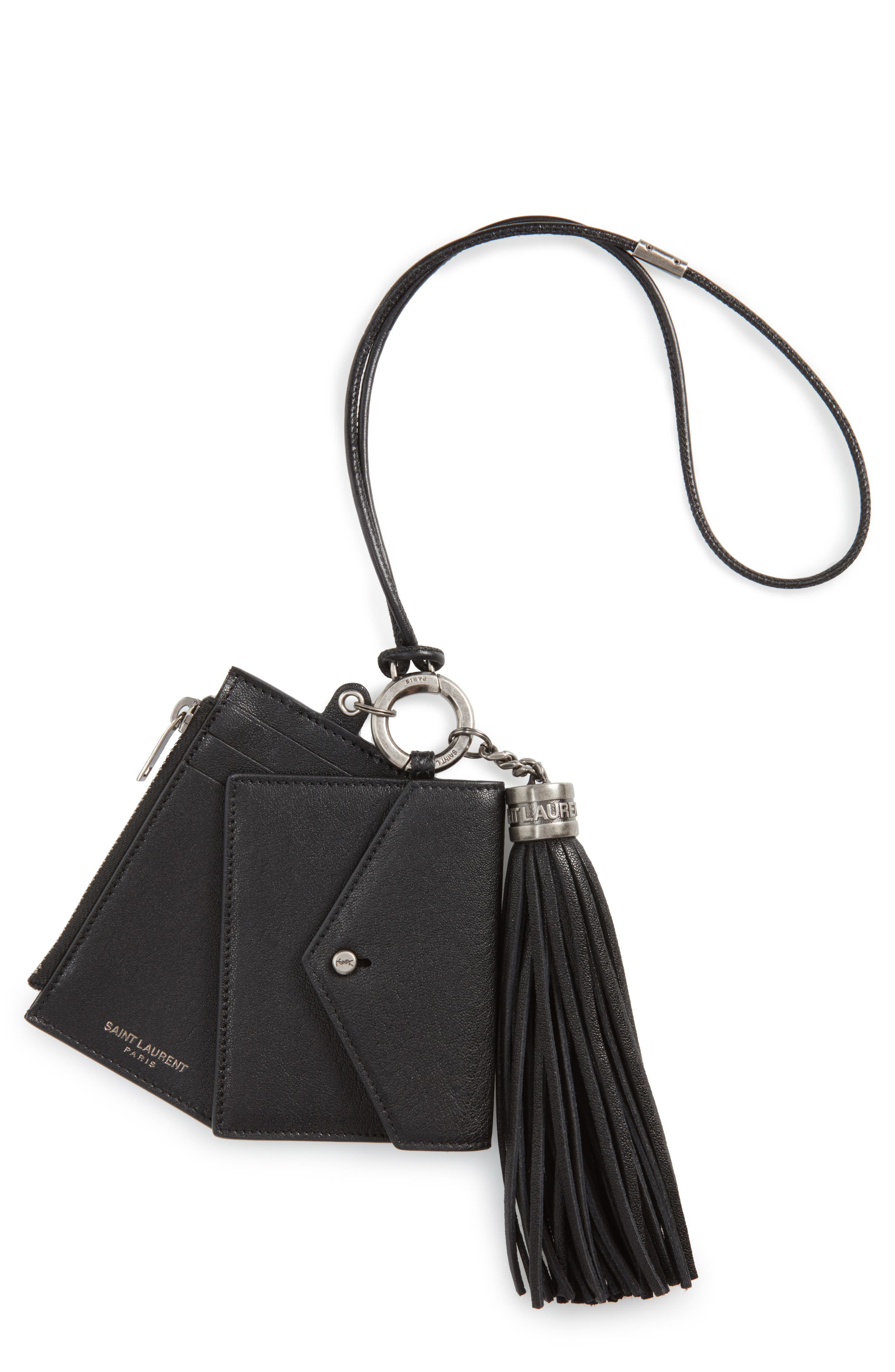 Leather Card Case, Coin Purse & Key Ring Set,                             Main thumbnail 1, color,                             Noir
