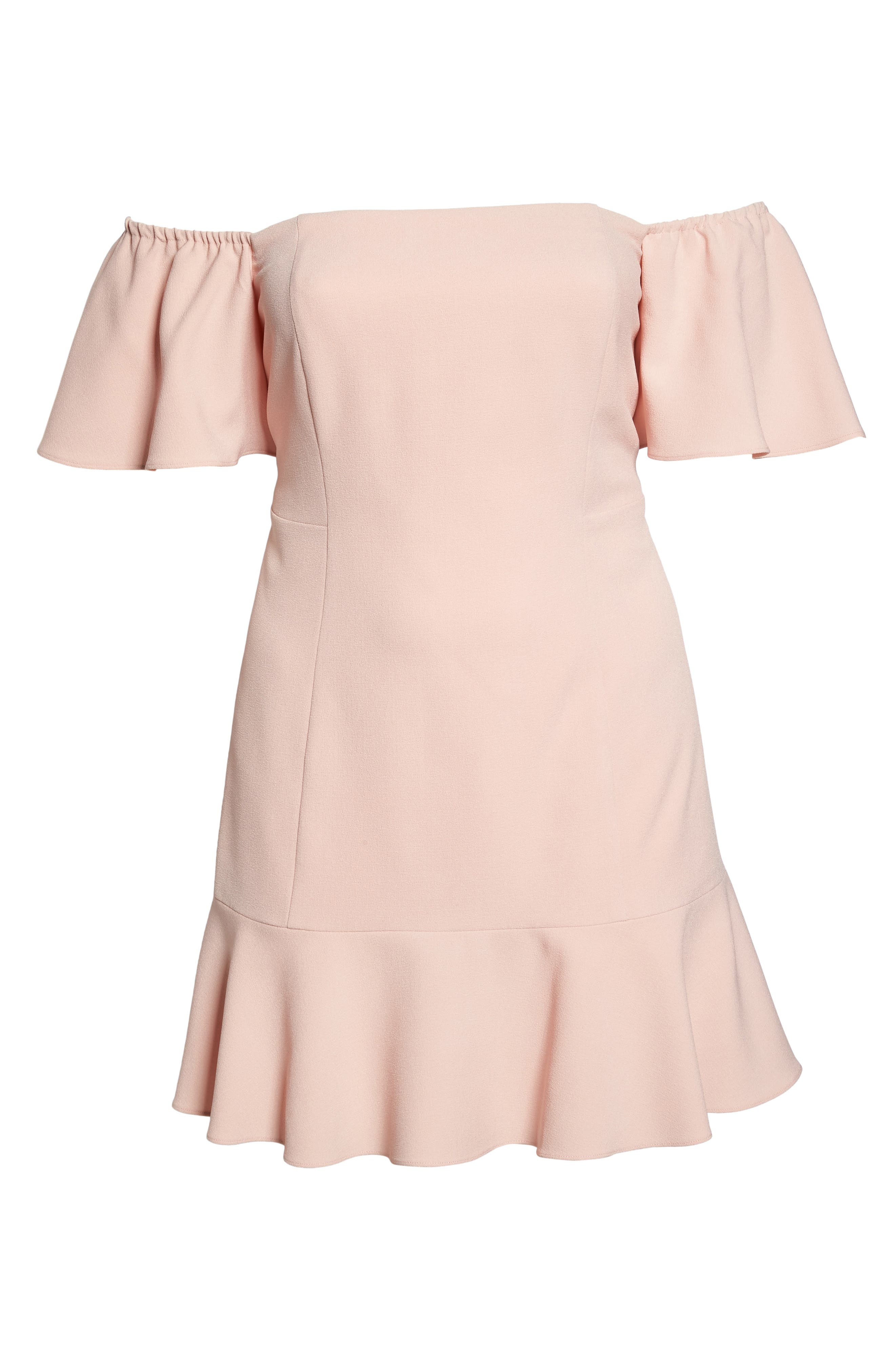 Off the Shoulder Crepe Dress,                             Alternate thumbnail 6, color,                             Blush