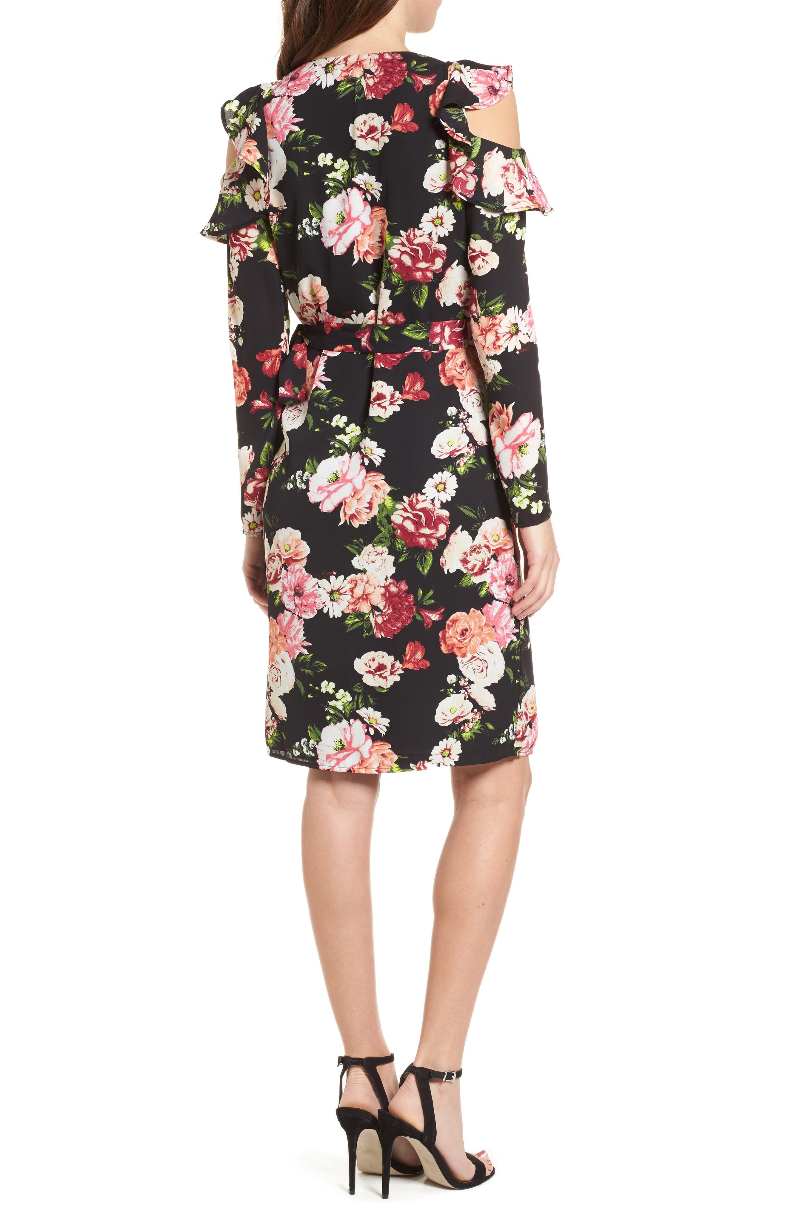 Floral Print Wrap Dress,                             Alternate thumbnail 2, color,                             Multi