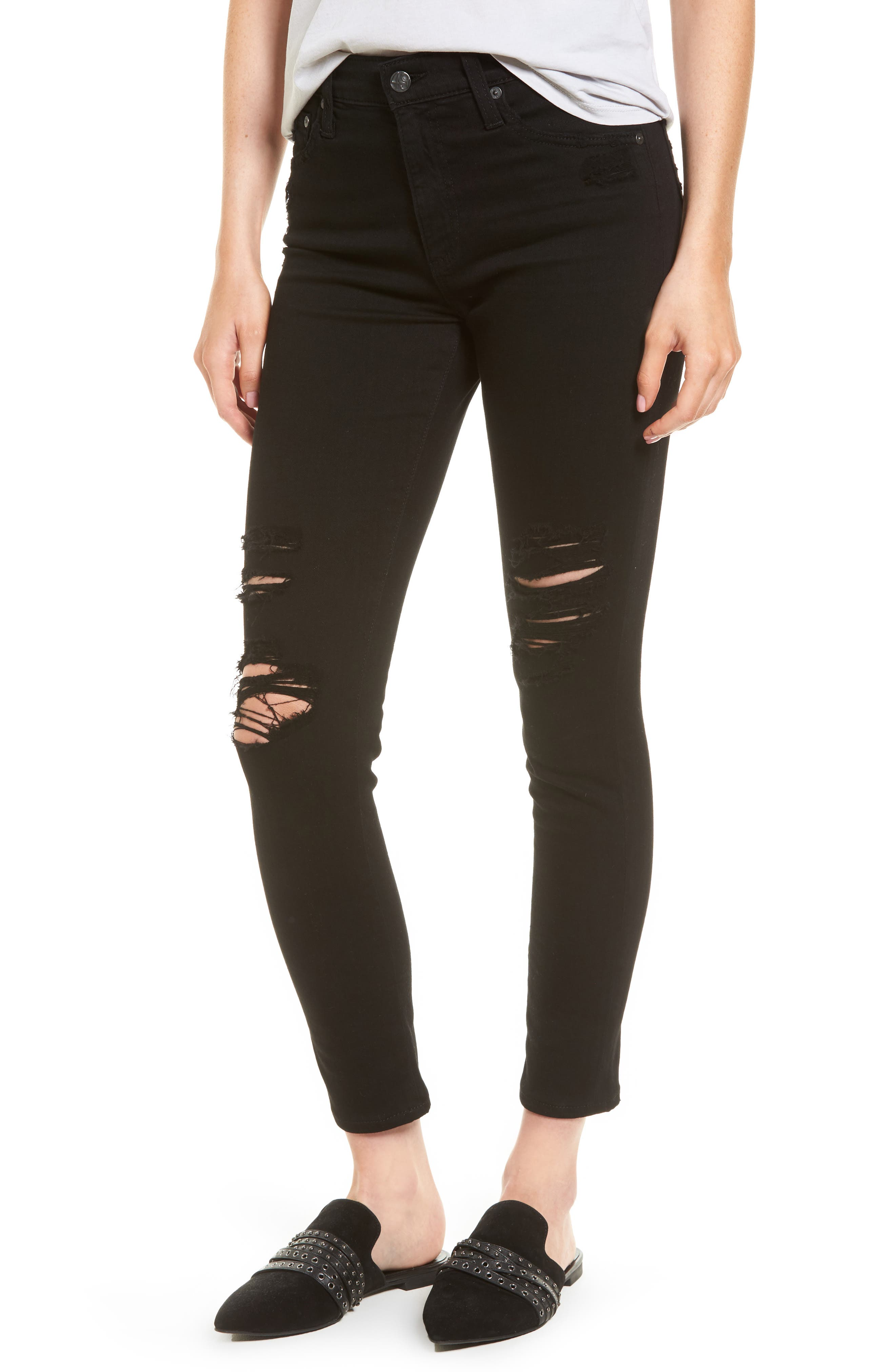 The Farrah High Waist Ankle Skinny Faux Leather Pants,                         Main,                         color, 5 Years Black Destructed