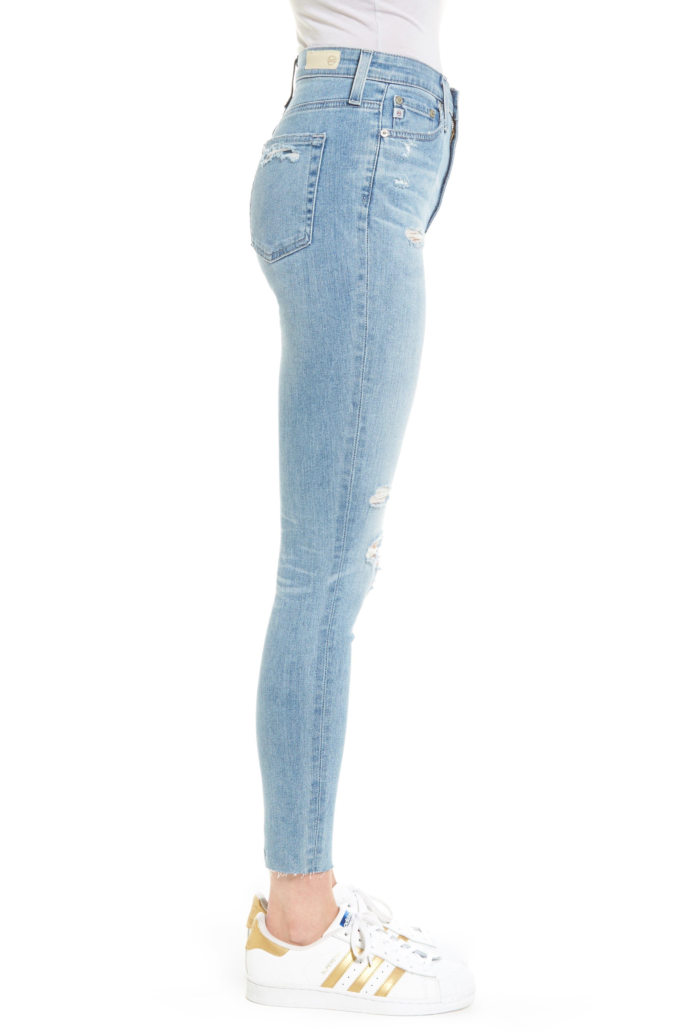 Mila High Waist Ankle Skinny Jeans,                             Alternate thumbnail 3, color,                             20 Years-Oceana Destructed