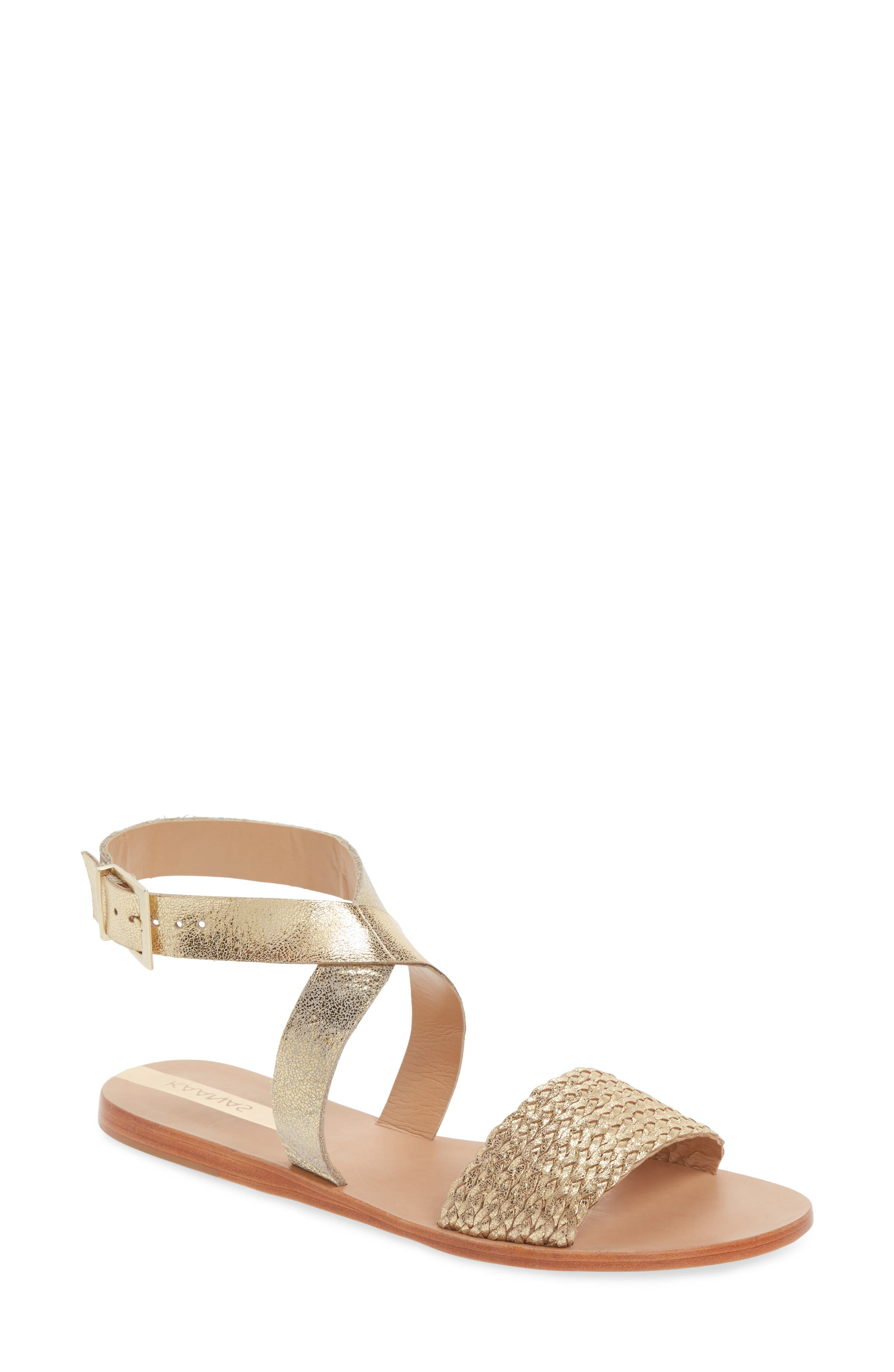 Fortaleza Braided Flat Sandal,                         Main,                         color, Gold