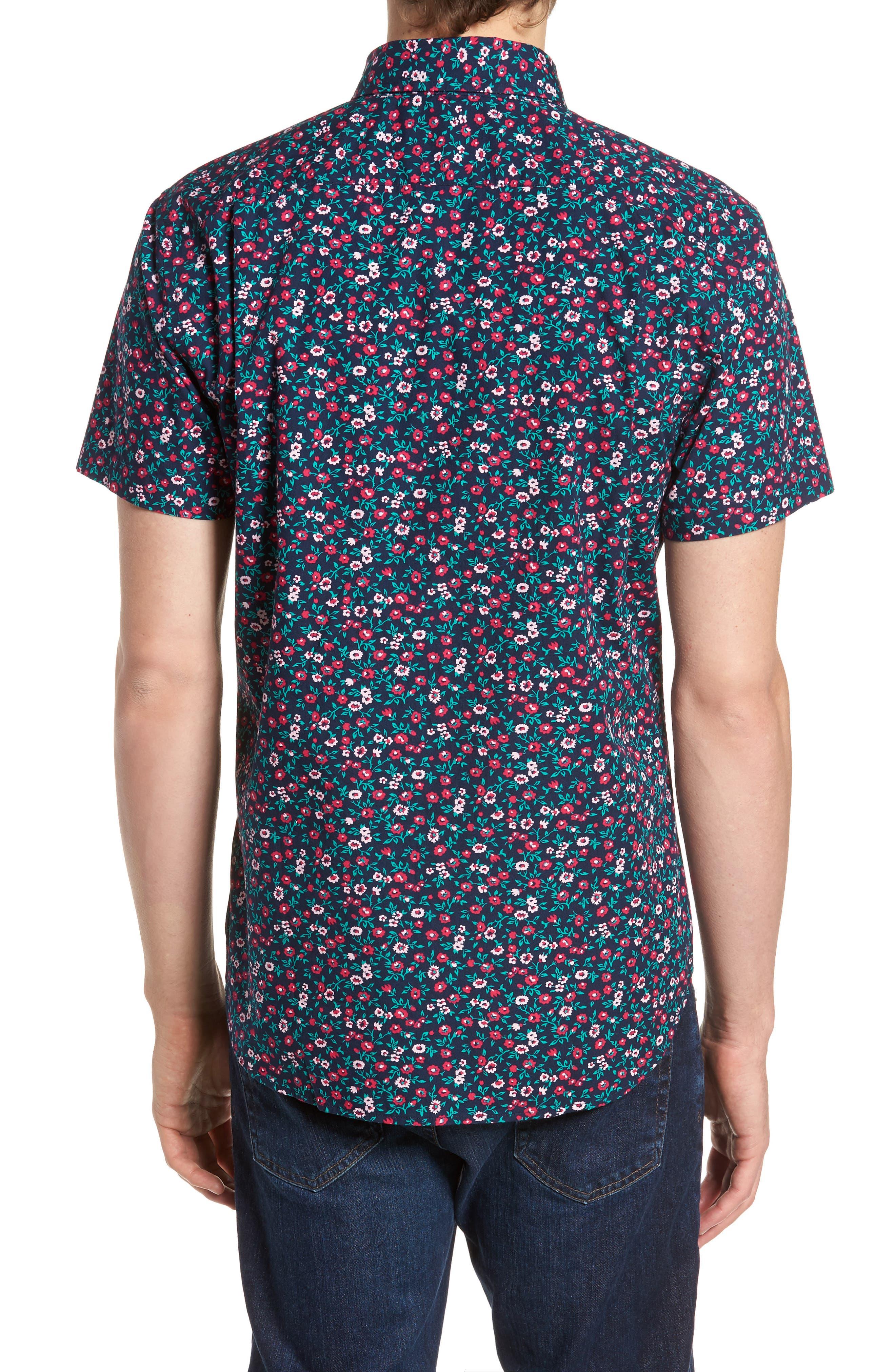 Slim Fit Print Short Sleeve Sport Shirt,                             Alternate thumbnail 3, color,                             Whitecap Floral - Red