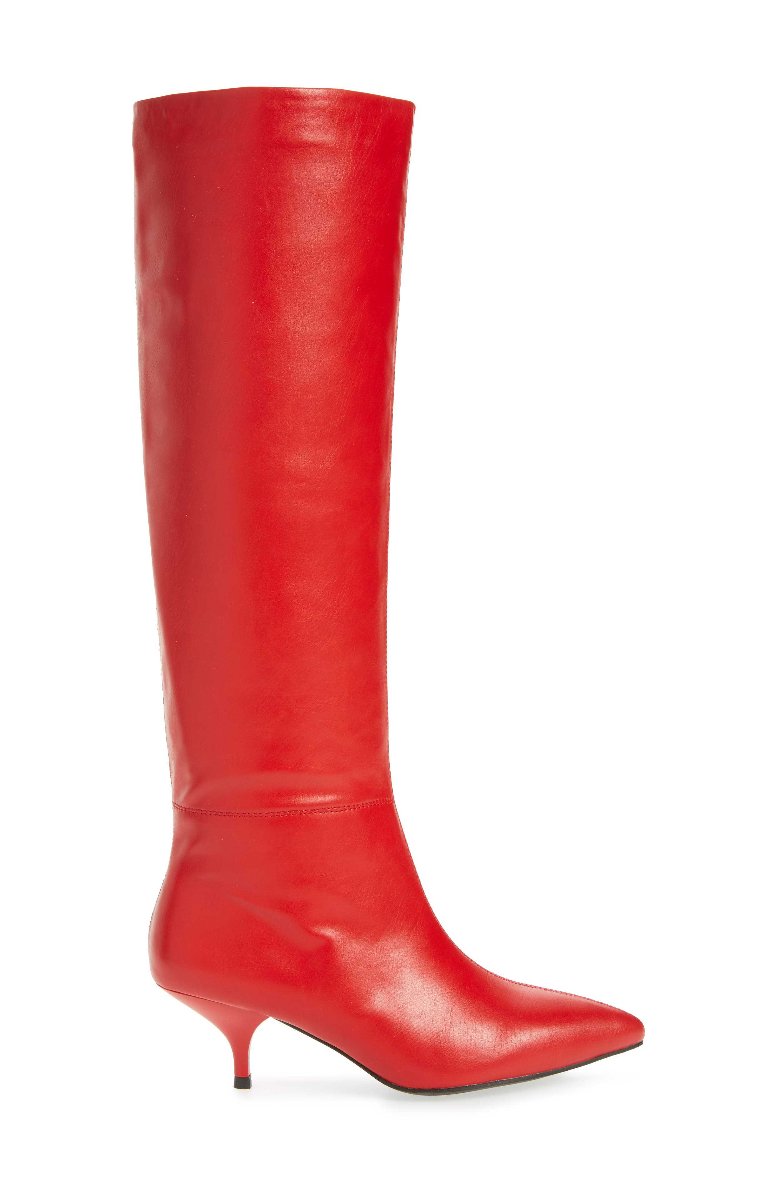 Germany Knee High Boot,                             Alternate thumbnail 3, color,                             Red