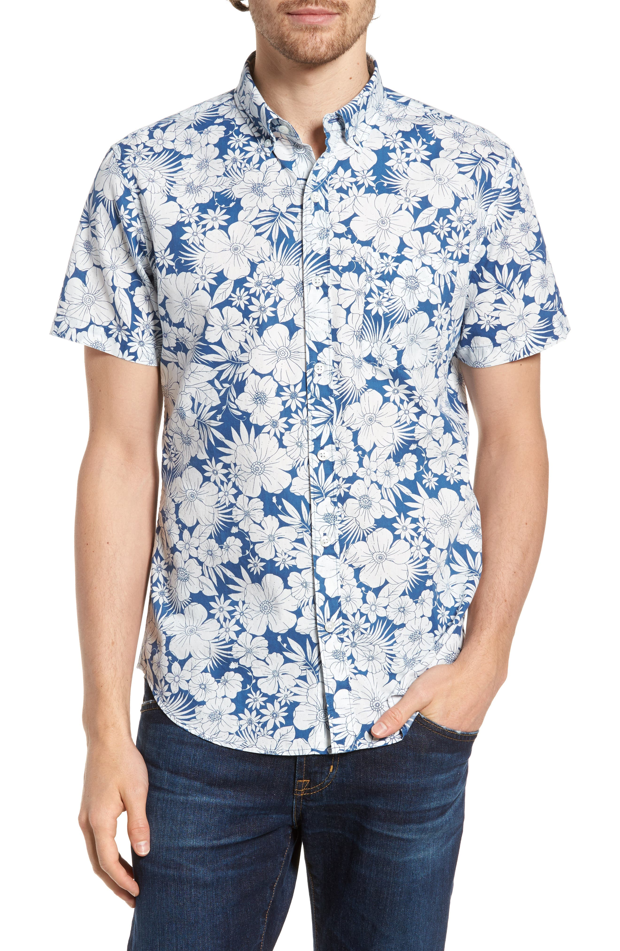 Slim Fit Print Short Sleeve Sport Shirt,                             Main thumbnail 1, color,                             Harland Floral - Maritime Blue