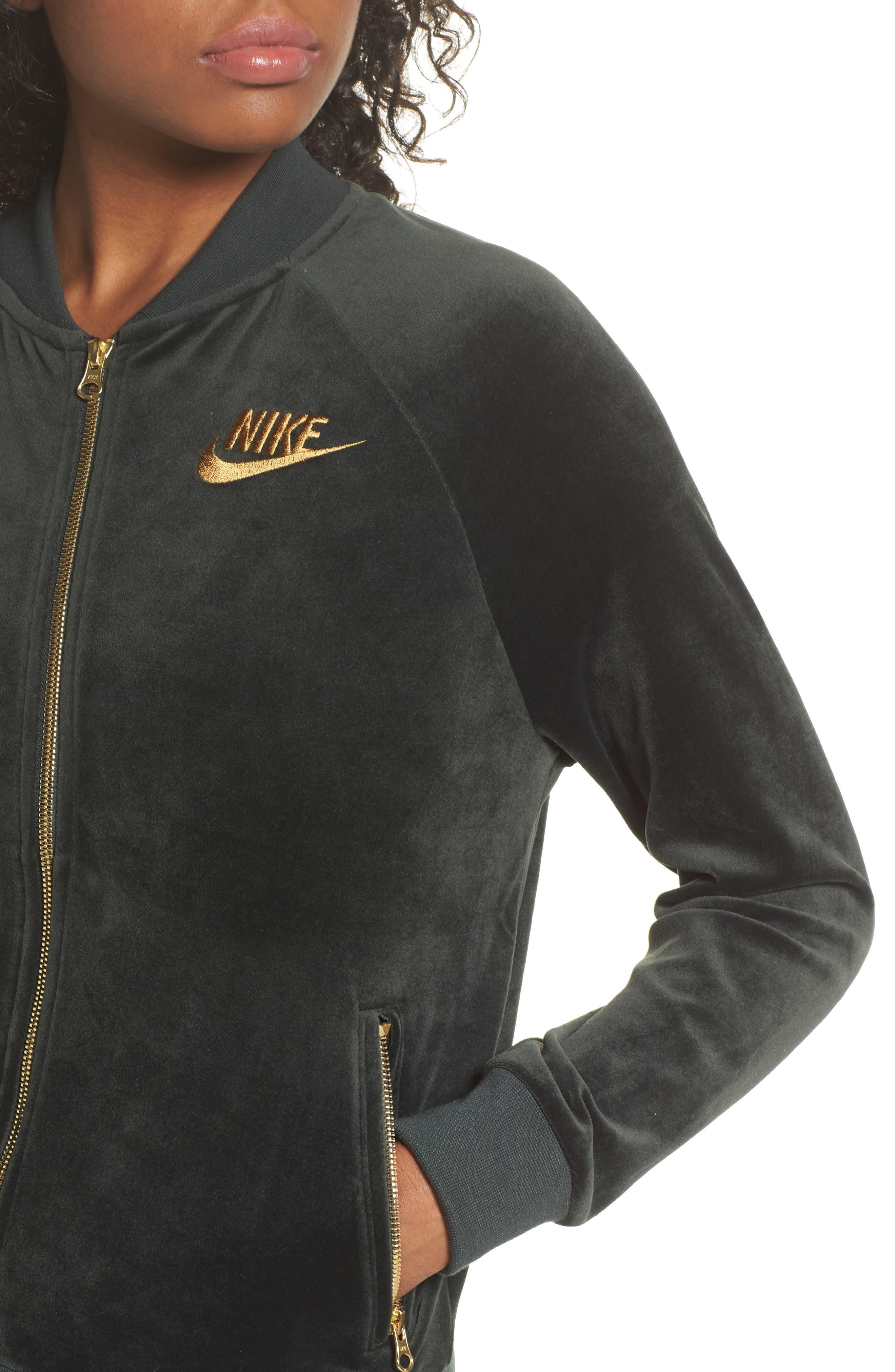 Velour Jacket,                             Alternate thumbnail 4, color,                             Outdoor Green/ Metallic Gold