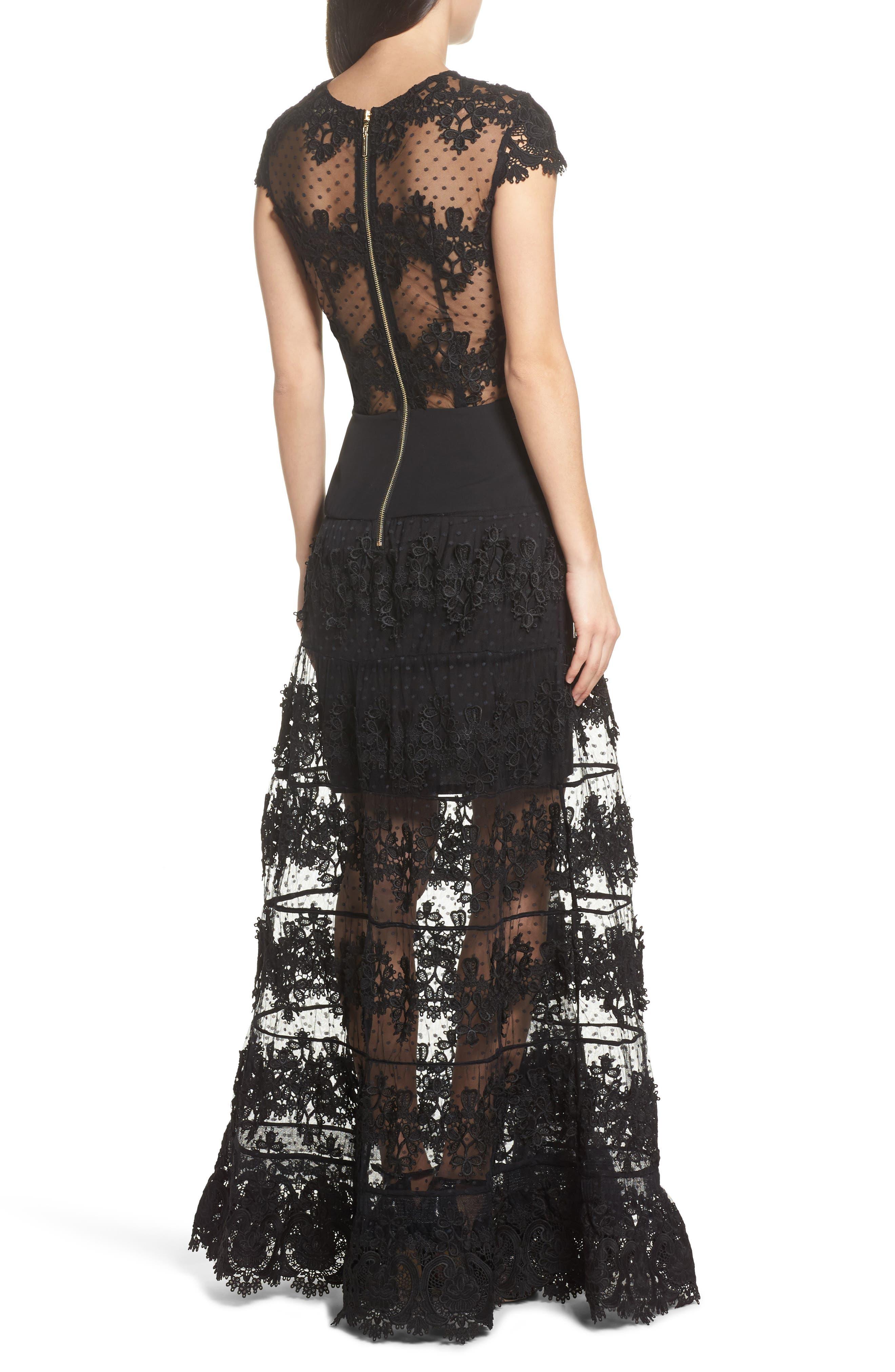 Flamenco Lace Inset Gown,                             Alternate thumbnail 3, color,                             Black/ Navy
