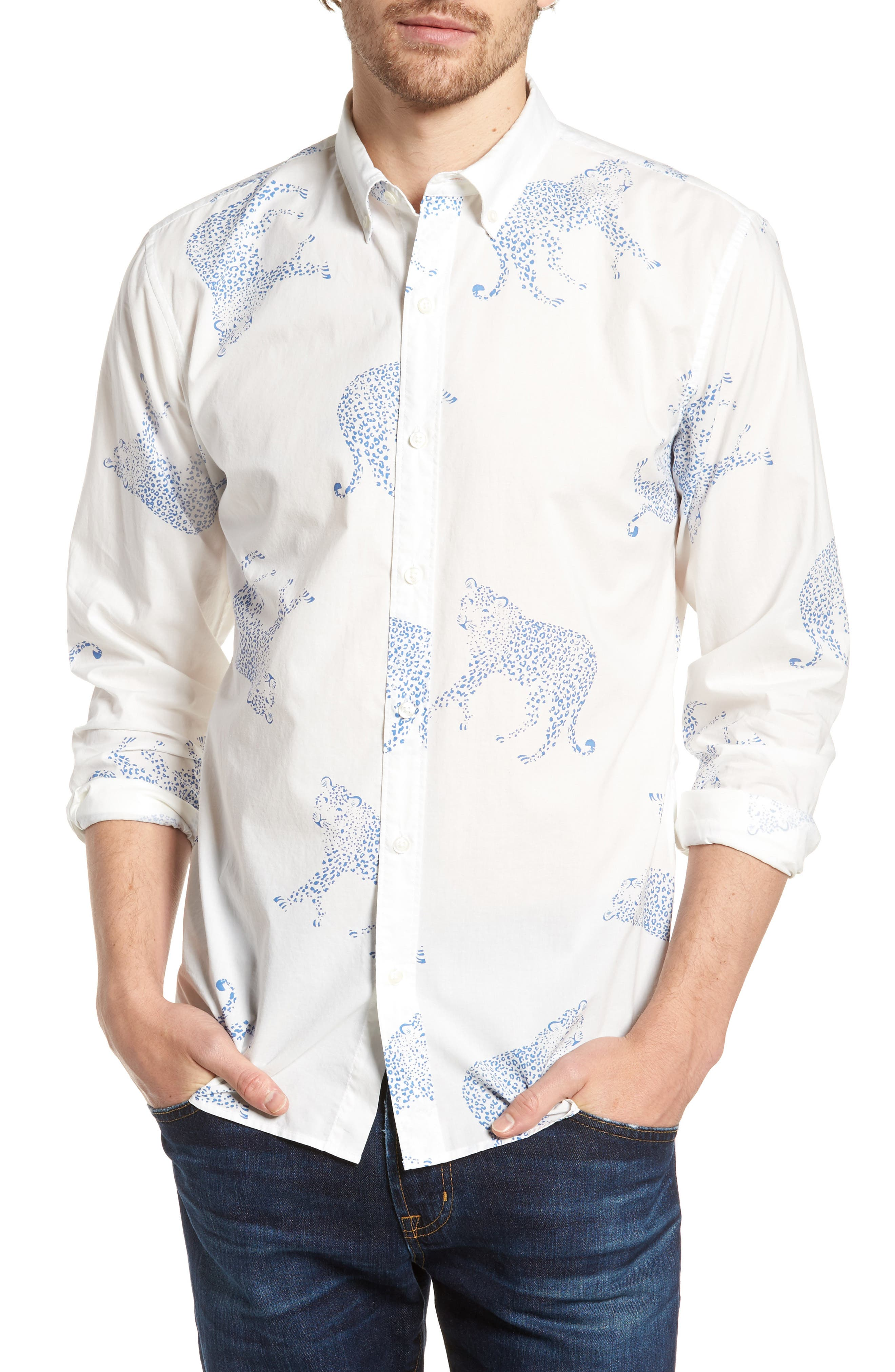 Summerweight Slim Fit Print Sport Shirt,                             Main thumbnail 1, color,                             Big Cheetah - Maritime Blue