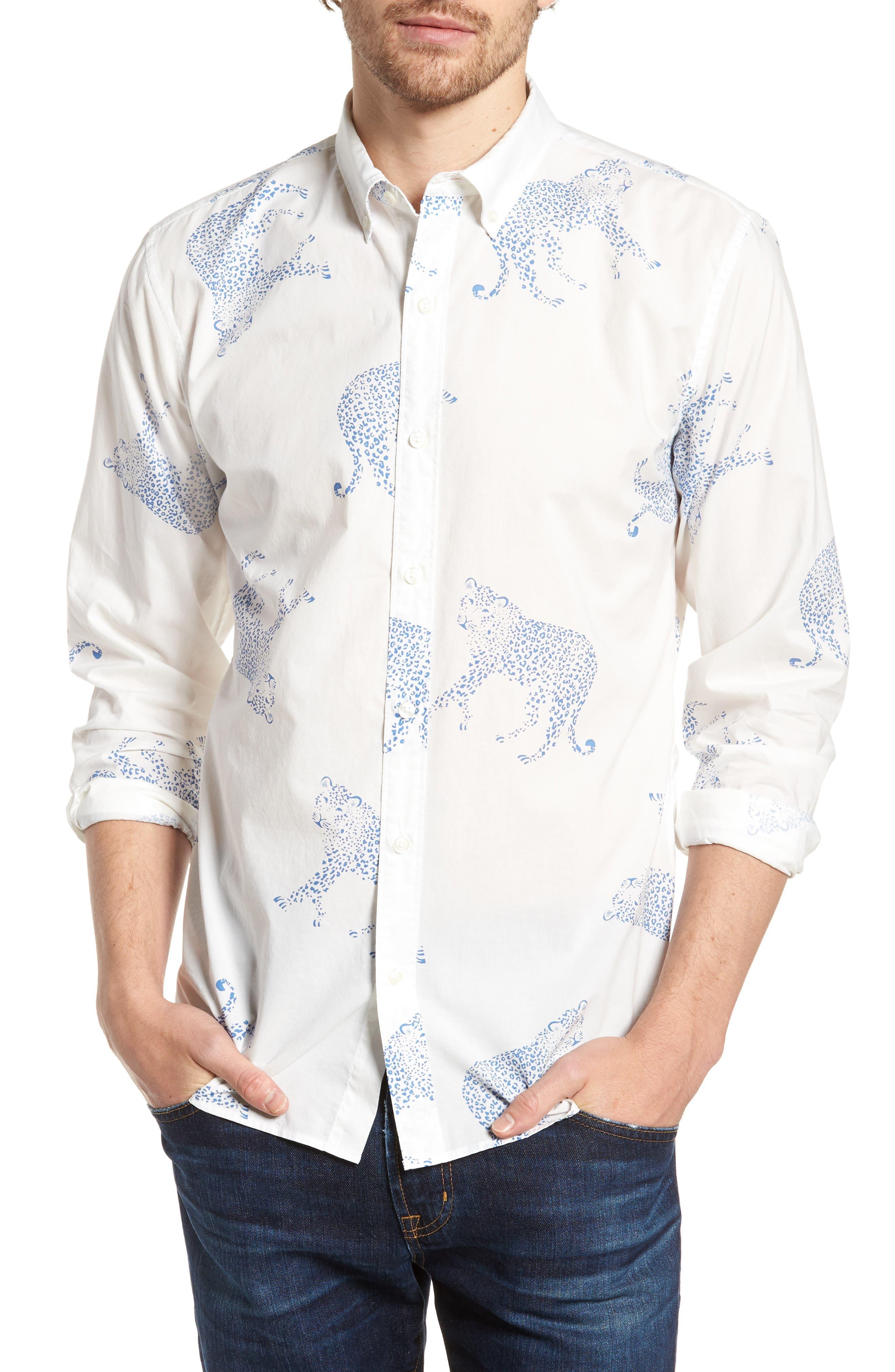 Summerweight Slim Fit Print Sport Shirt,                         Main,                         color, Big Cheetah - Maritime Blue