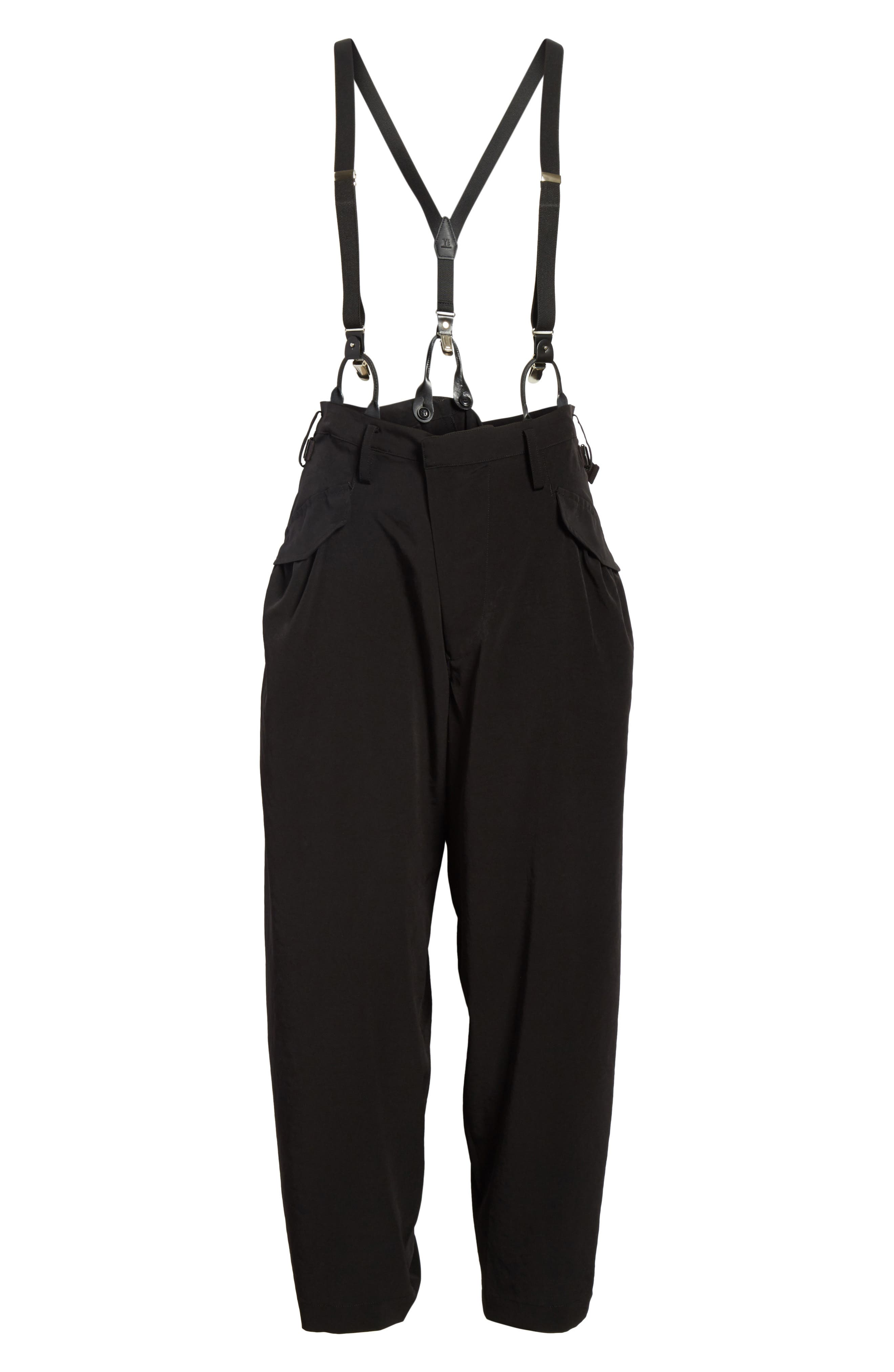 Pants with Suspenders,                             Alternate thumbnail 6, color,                             Black