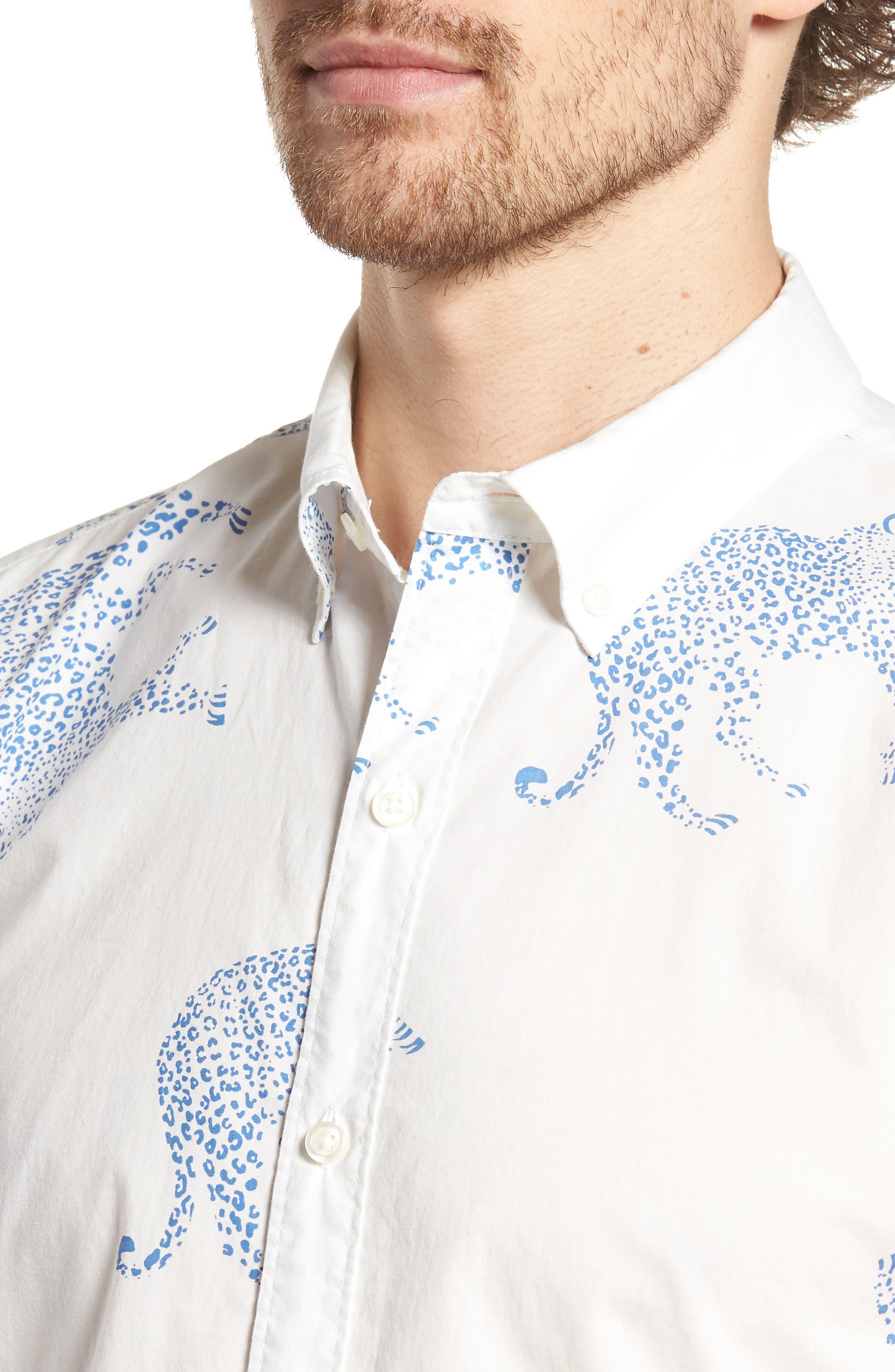 Summerweight Slim Fit Print Sport Shirt,                             Alternate thumbnail 2, color,                             Big Cheetah - Maritime Blue