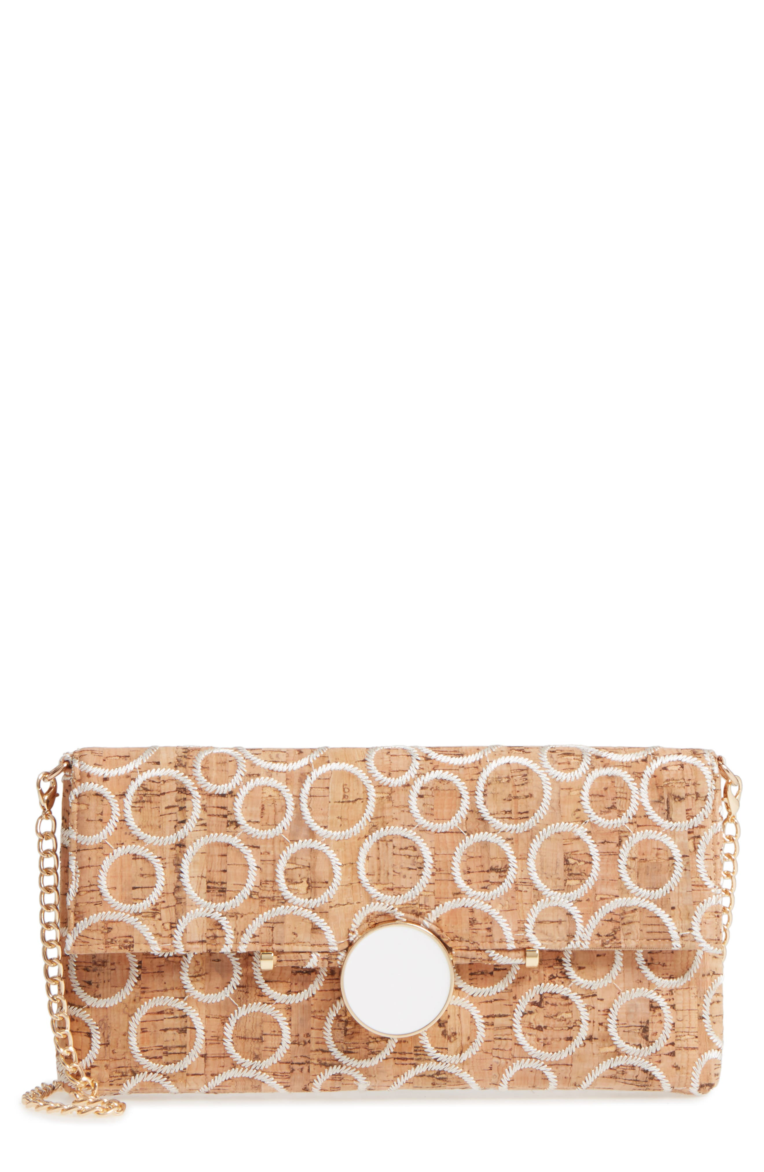 Embroidered Clutch,                             Main thumbnail 1, color,                             Natural/ White