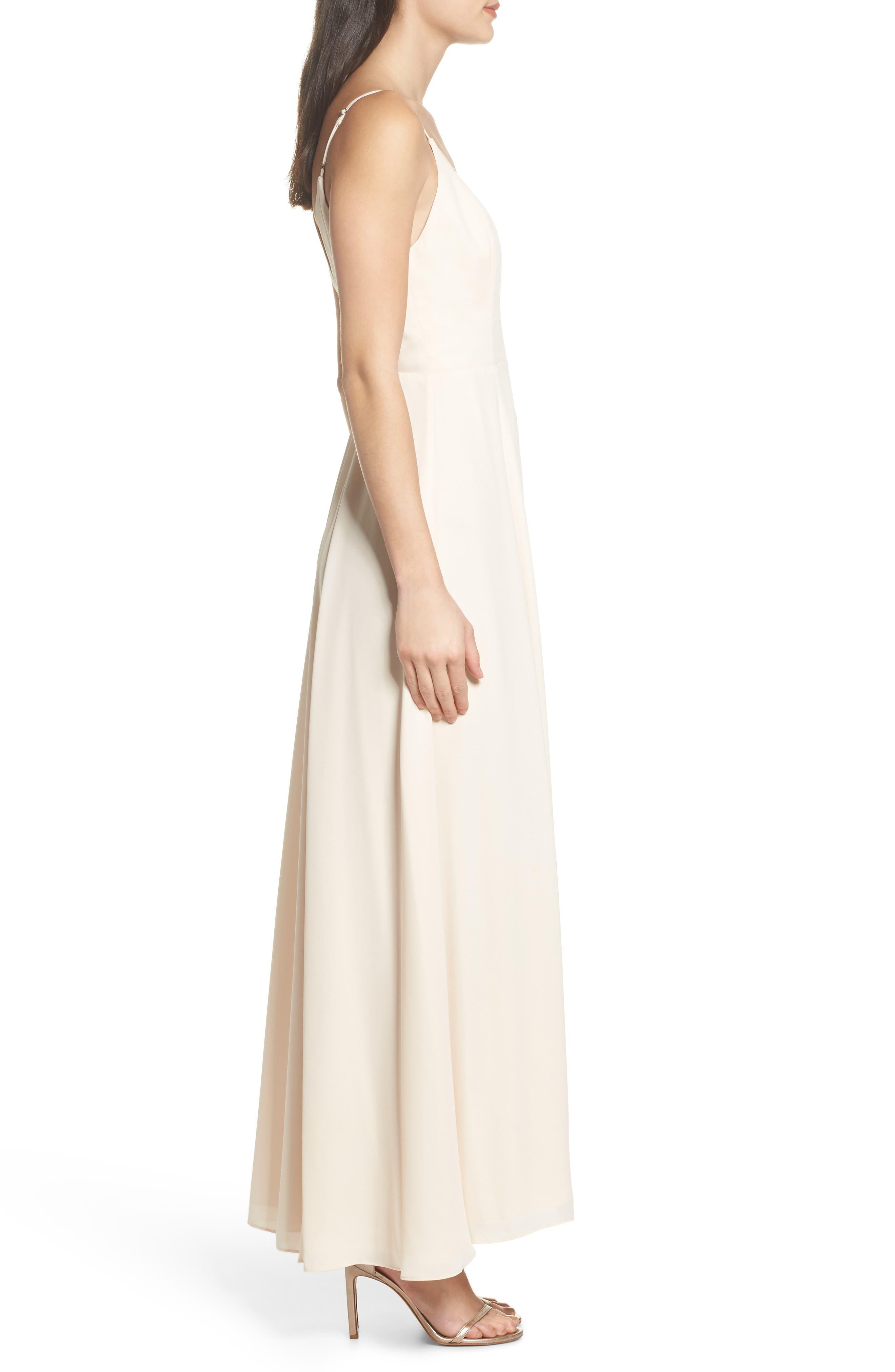 Tilbury Georgette Wrap Maxi Dress,                             Alternate thumbnail 3, color,                             Champagne