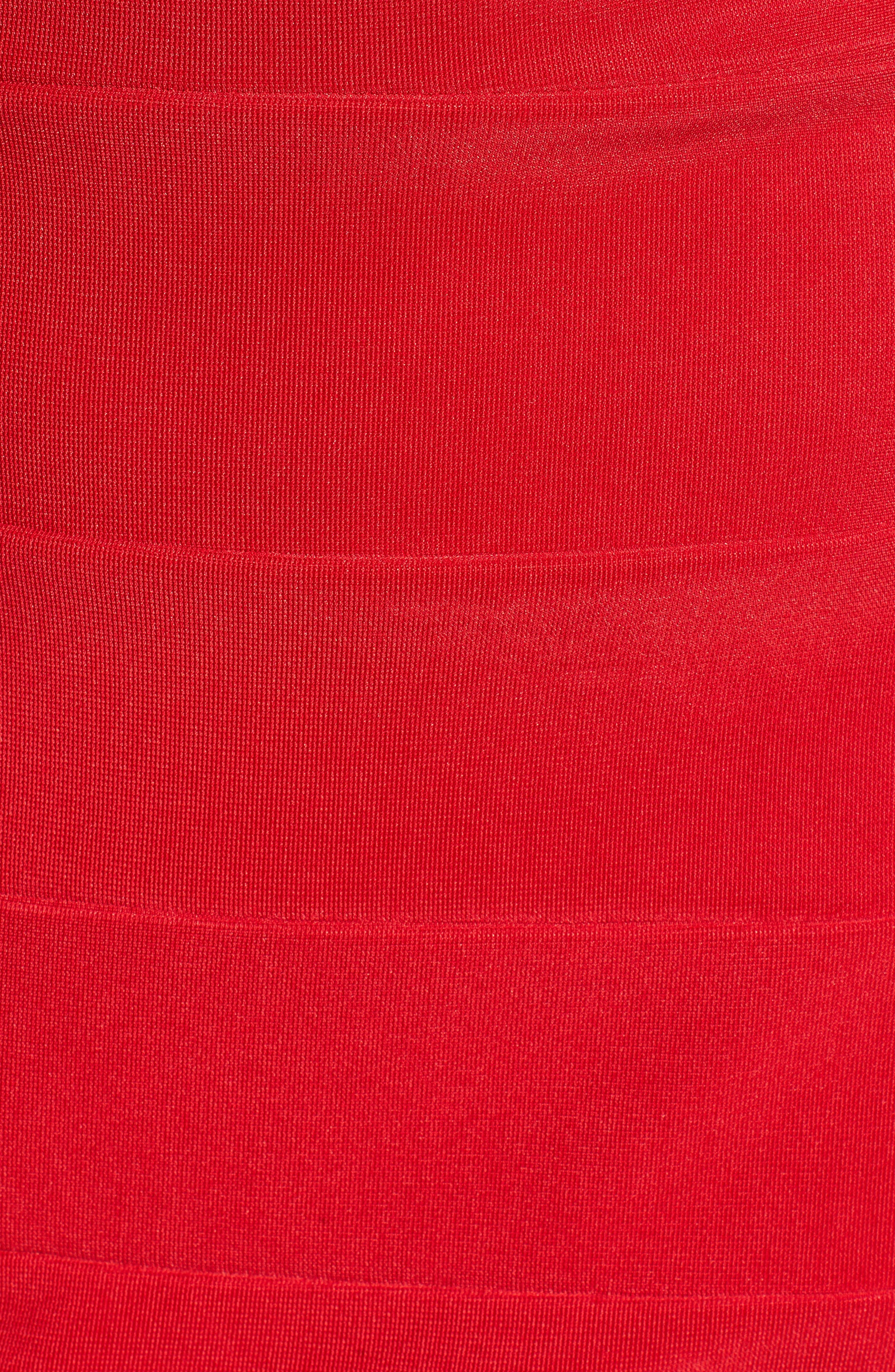 Illusion Body-Con Dress,                             Alternate thumbnail 5, color,                             Red