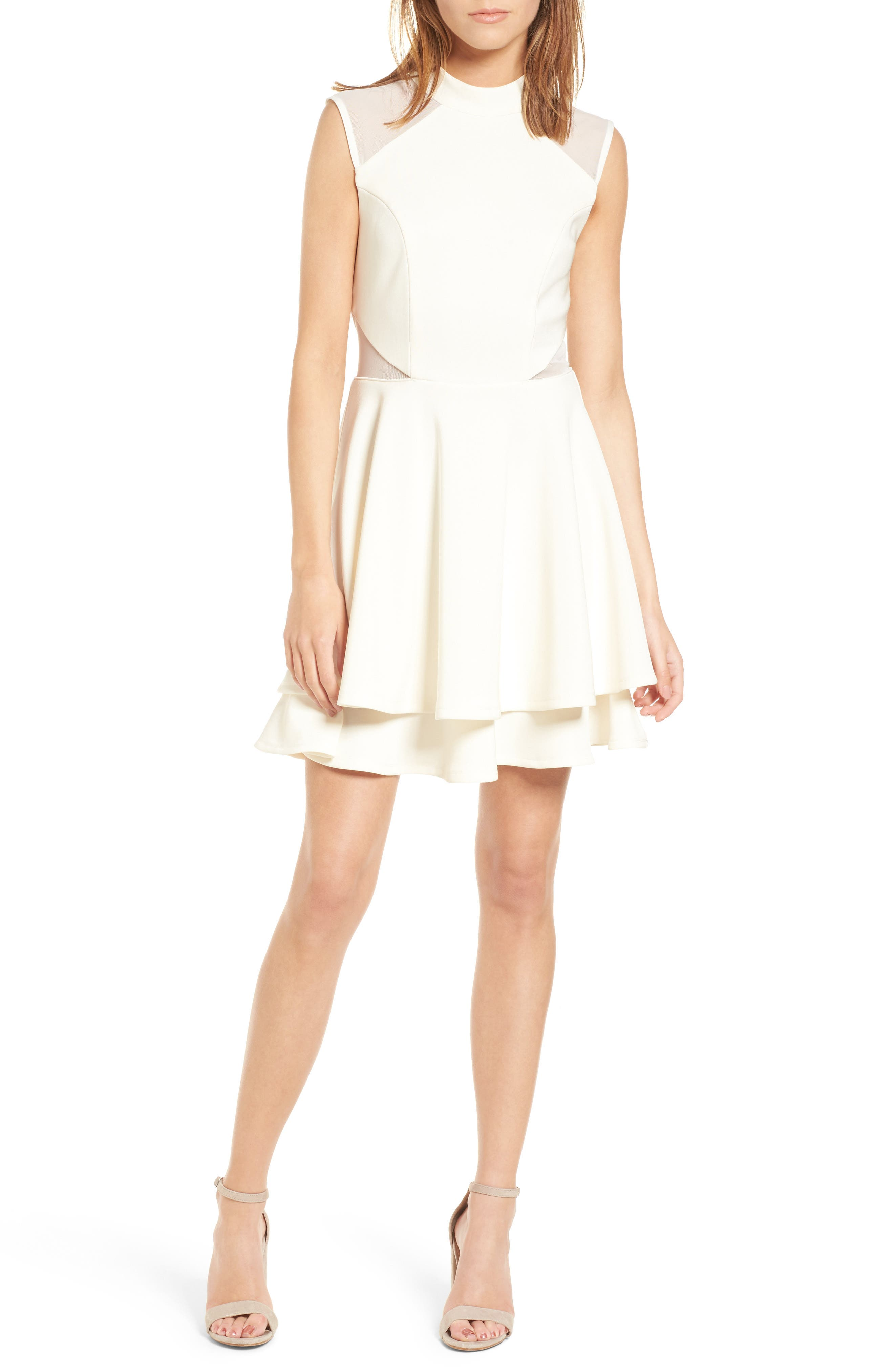 Love, Nickie Lew Mesh Inset Fit & Flare Dress