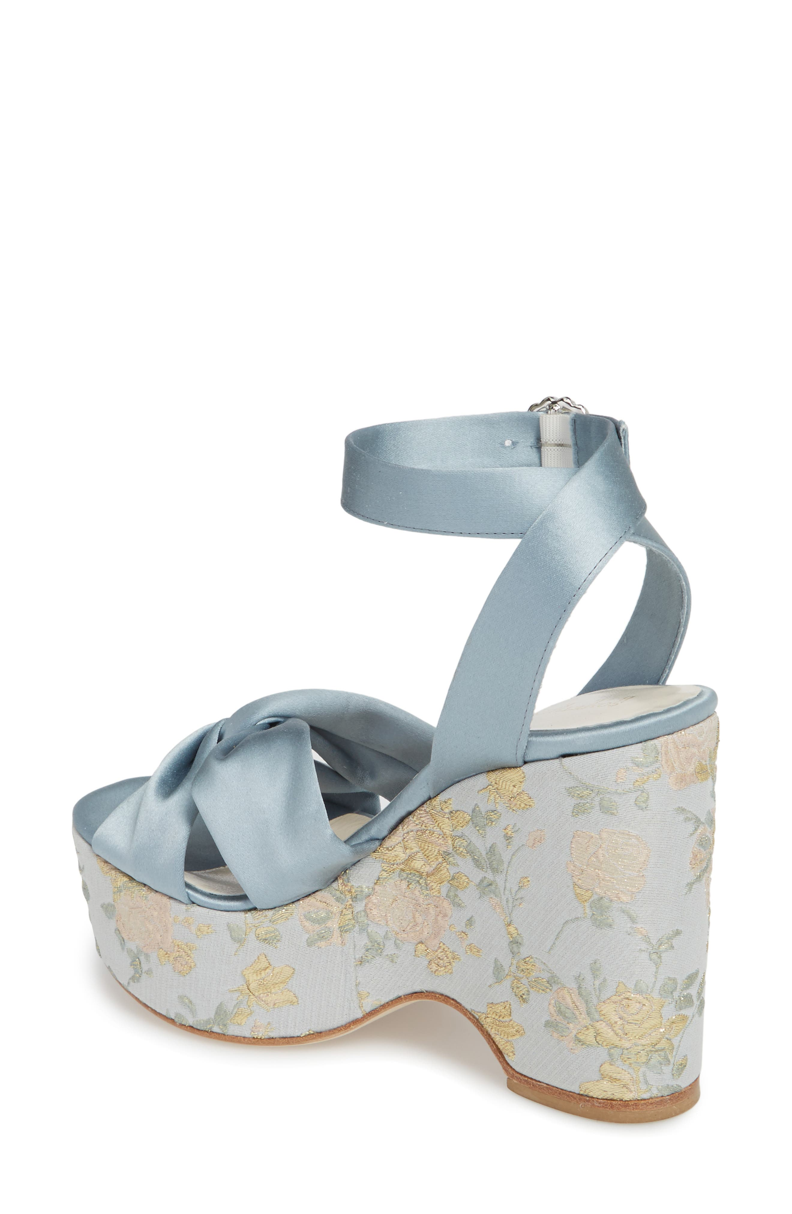 Serena Brocade Platform Sandal,                             Alternate thumbnail 2, color,                             Pearl Blue Satin
