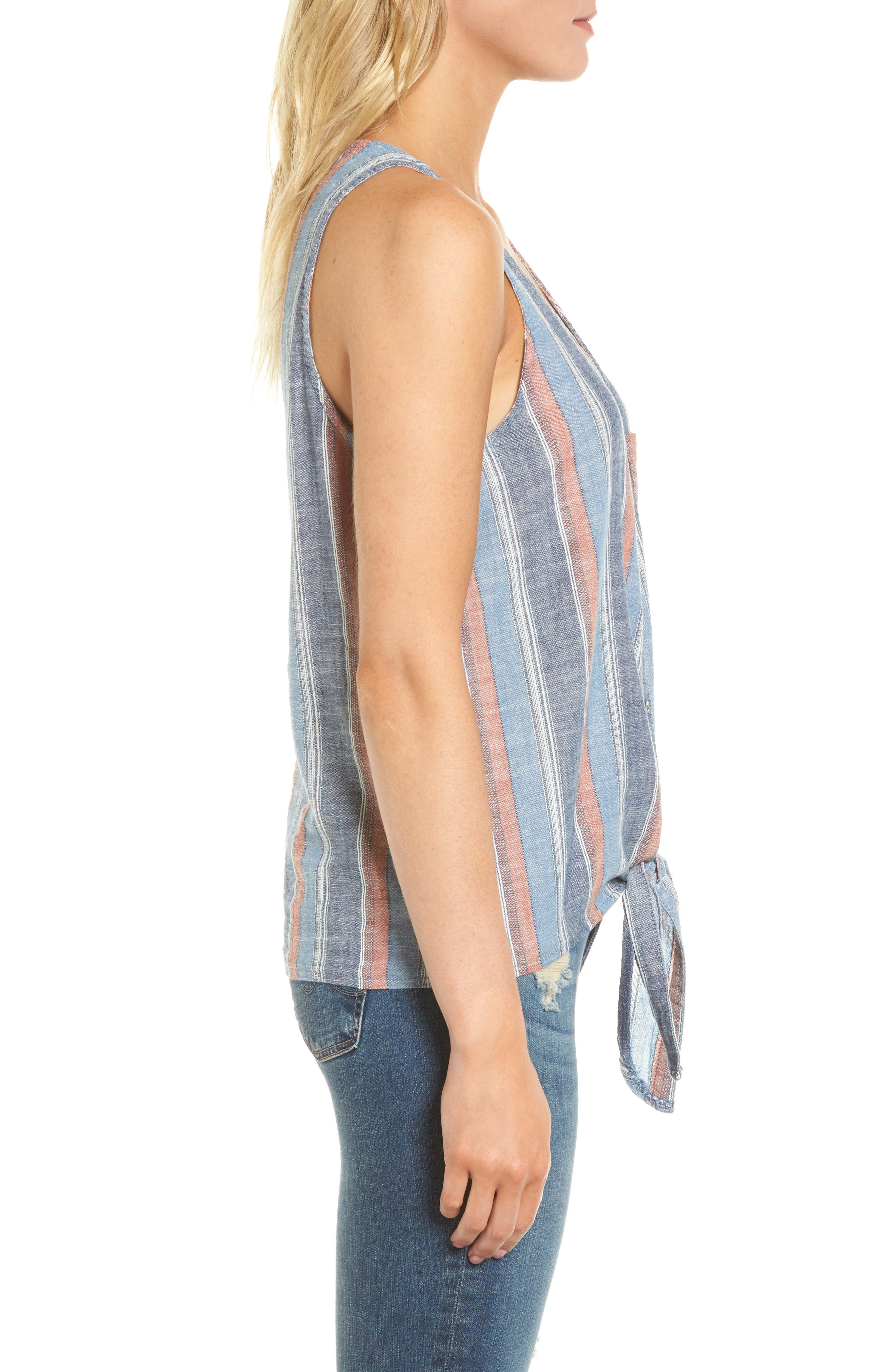 Cynthia Tie Front Tank,                             Alternate thumbnail 3, color,                             Blue Fig Multi