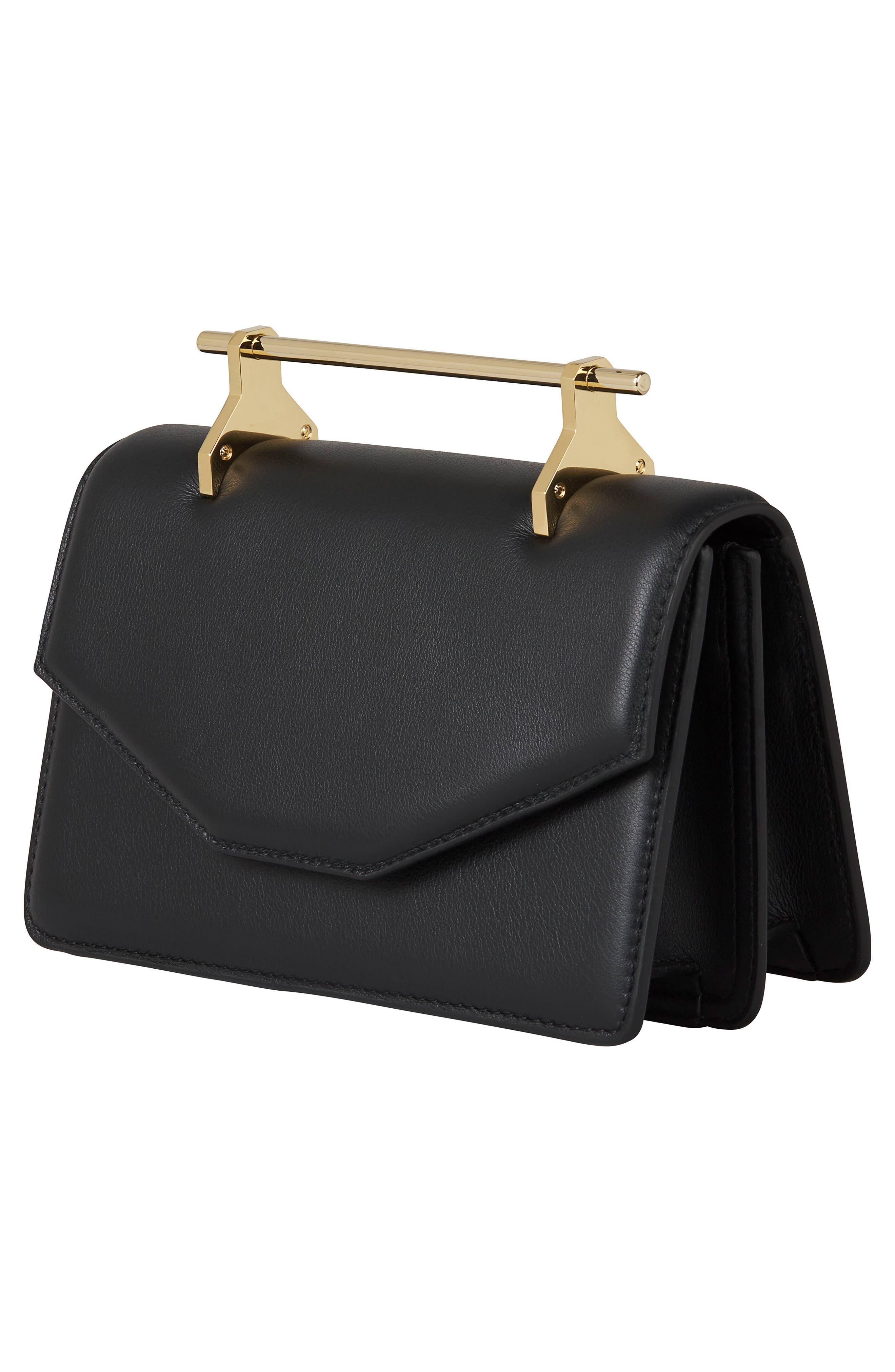 Indre Leather Shoulder Bag,                             Alternate thumbnail 3, color,                             Black/ Gold