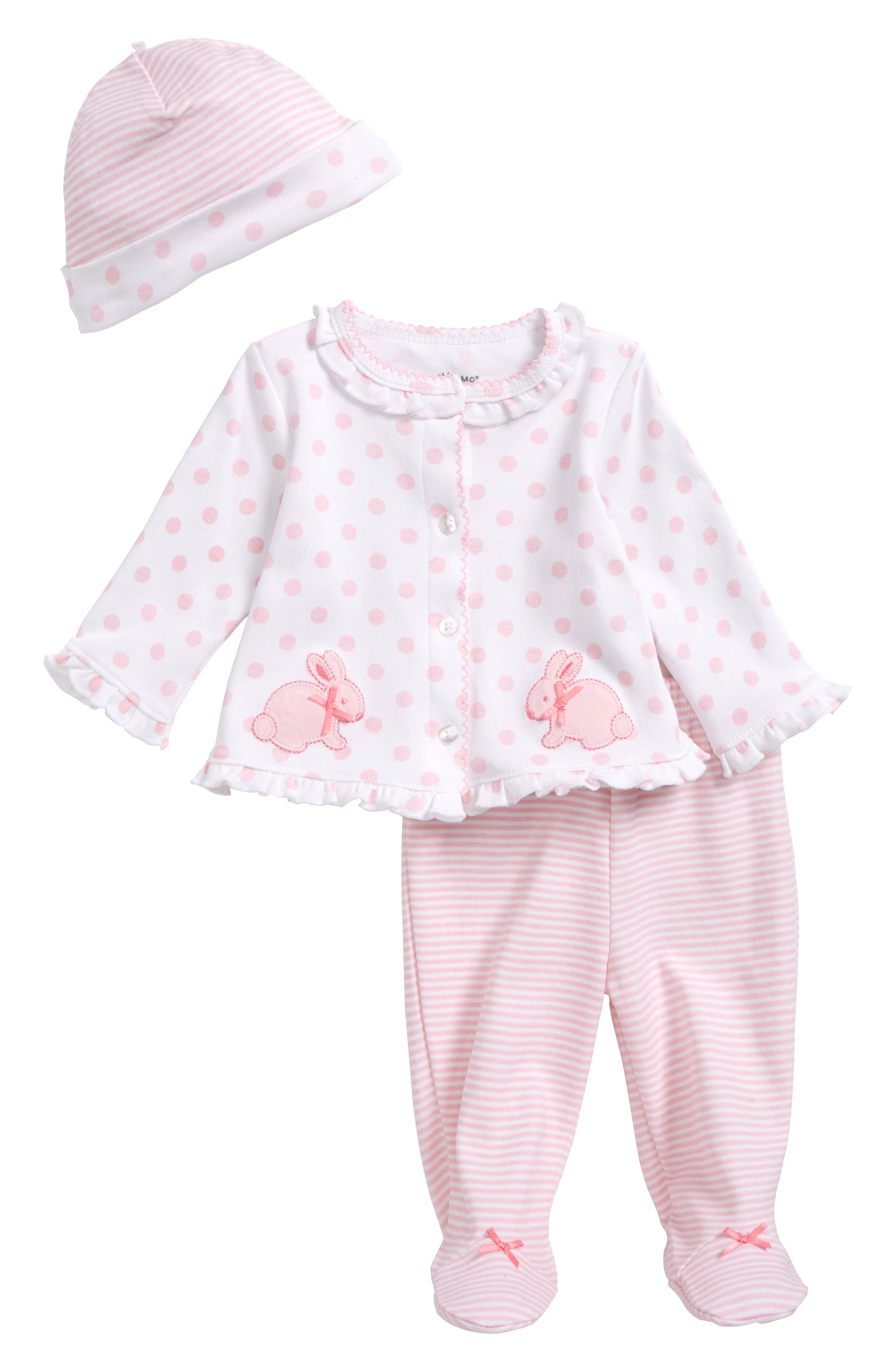 Little Me Bunny Cardigan, Hat & Footed Pants Set (Baby Girls)