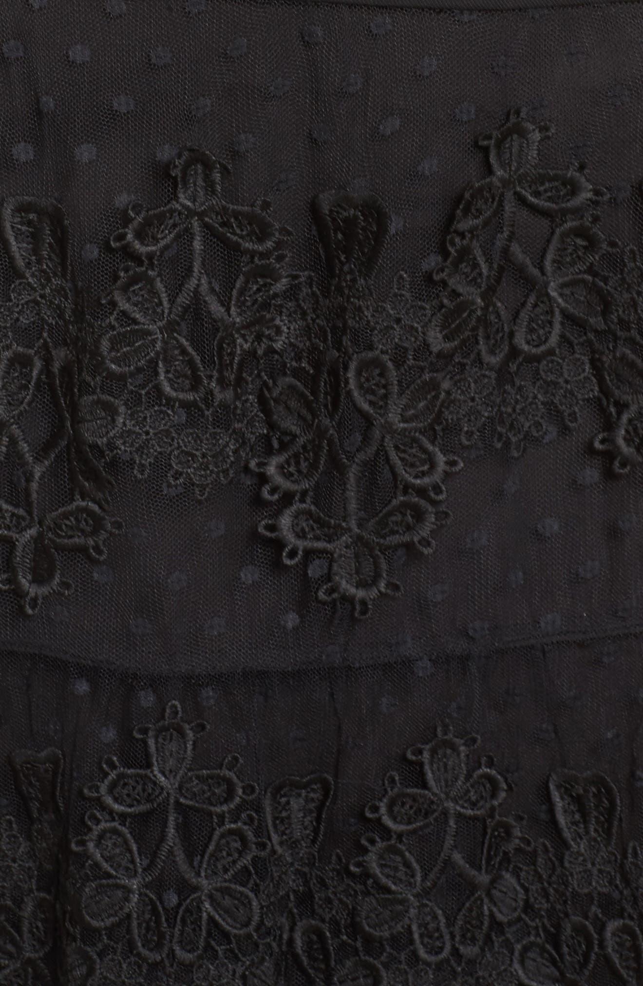 Flamenco Lace Inset Gown,                             Alternate thumbnail 6, color,                             Black/ Navy