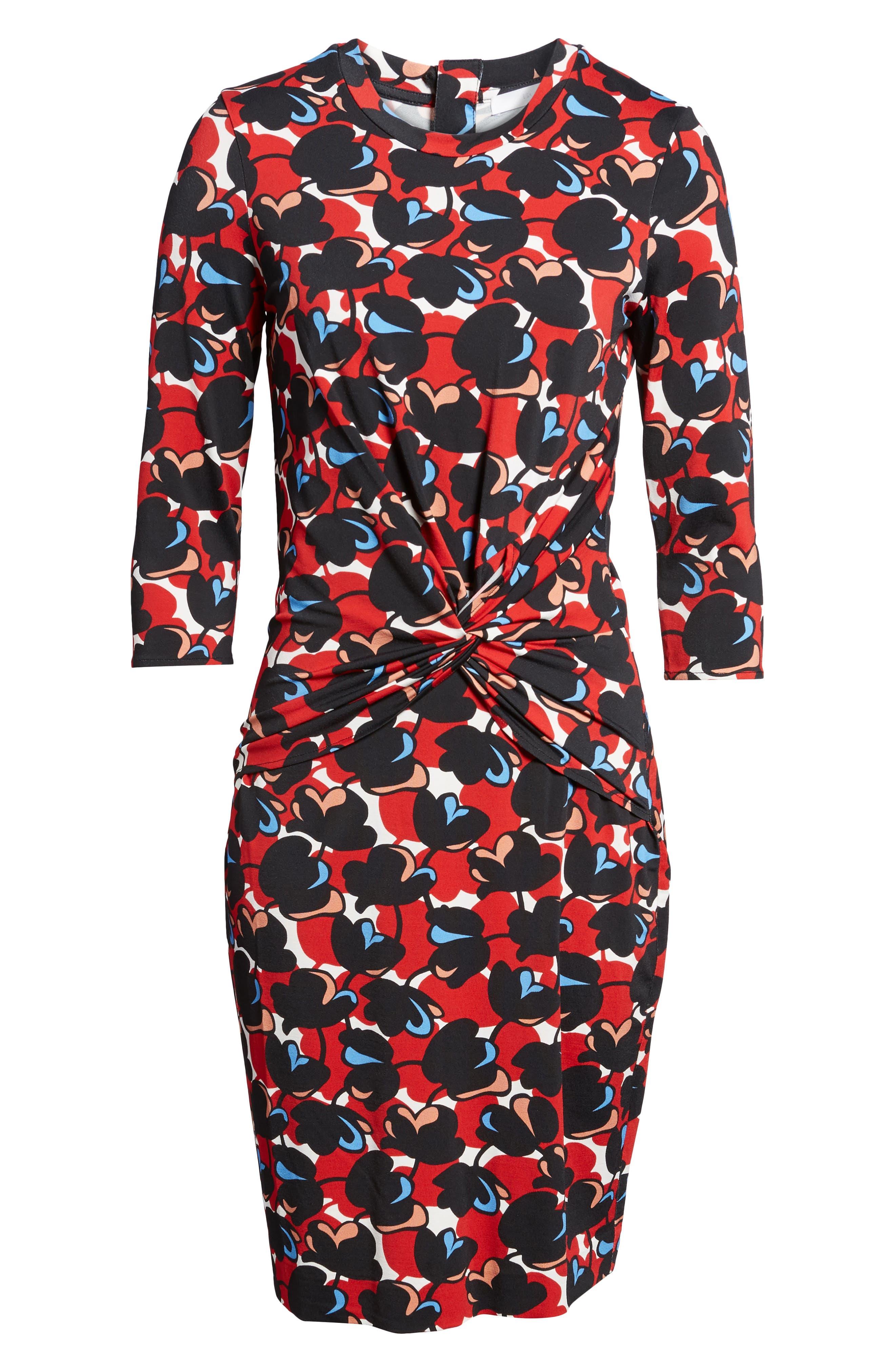Eleika Print Jersey Sheath Dress,                             Alternate thumbnail 6, color,                             Multicolor Flower Print