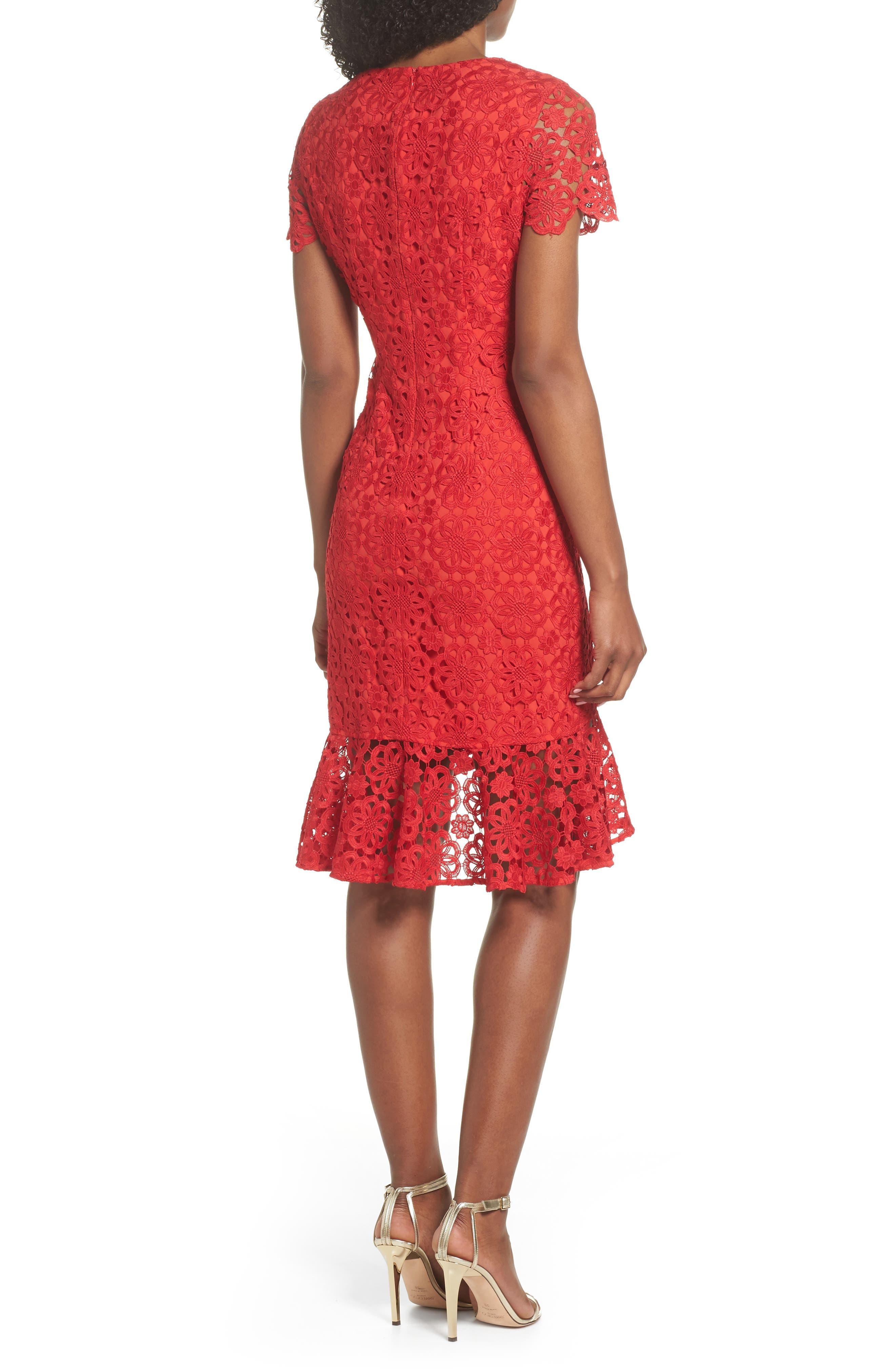 Ruffle Hem Lace Sheath Dress,                             Alternate thumbnail 3, color,                             Red