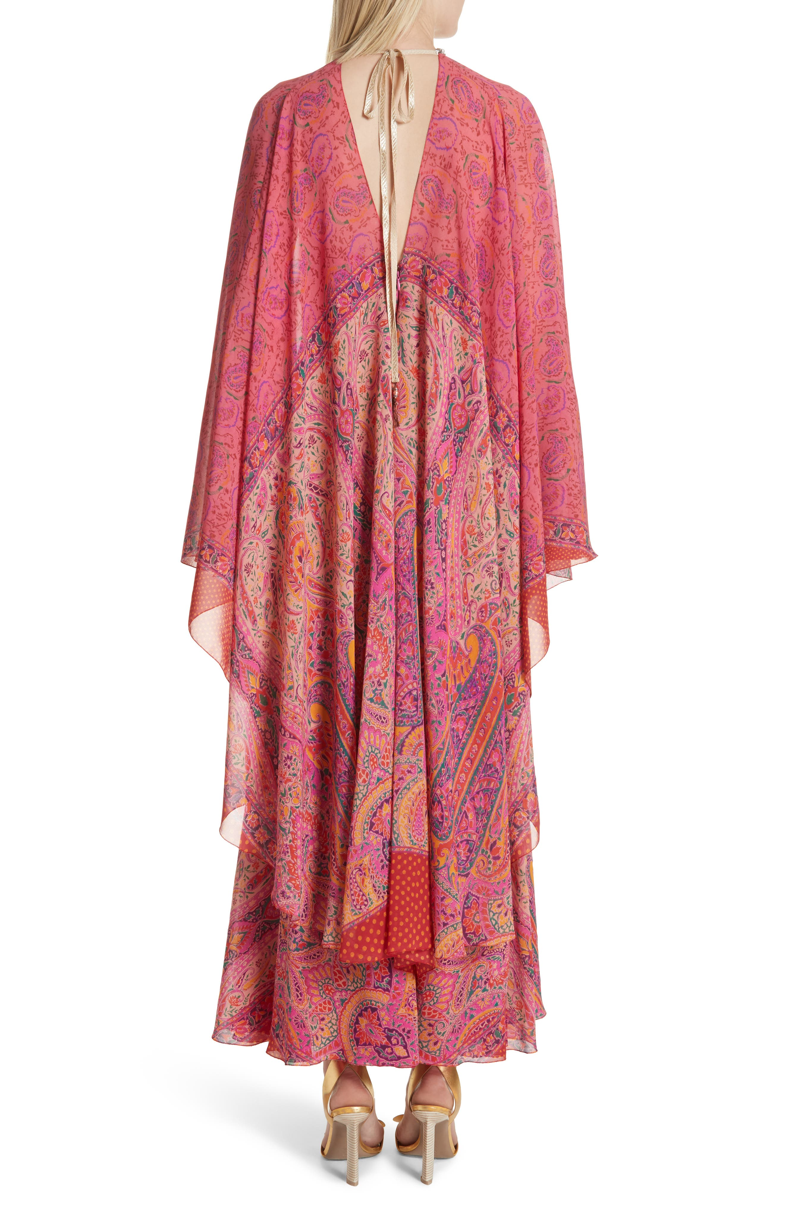 Beaded Halter Neck Silk Maxi Dress with Cape,                             Alternate thumbnail 2, color,                             Pink