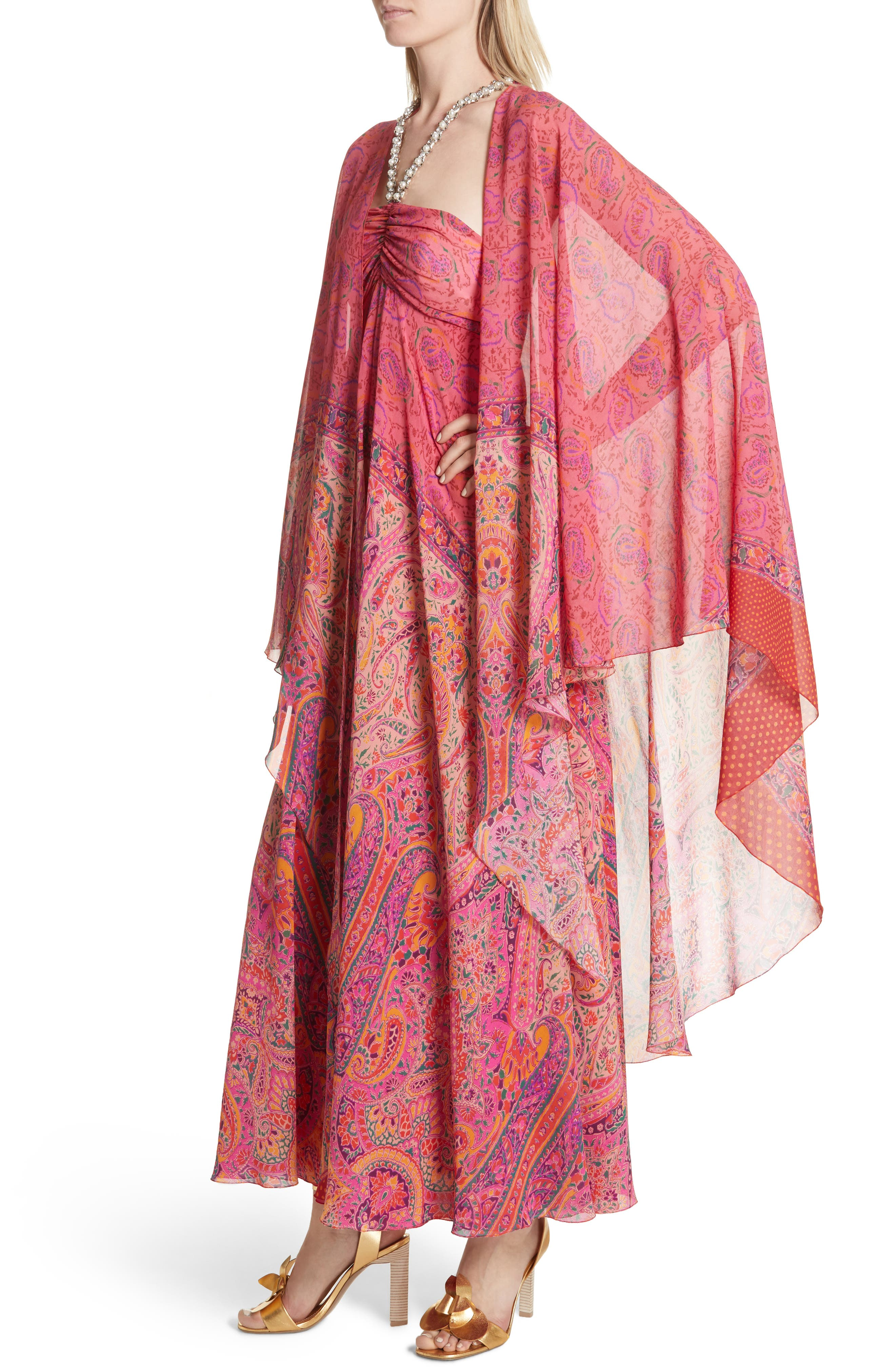 Beaded Halter Neck Silk Maxi Dress with Cape,                             Alternate thumbnail 4, color,                             Pink