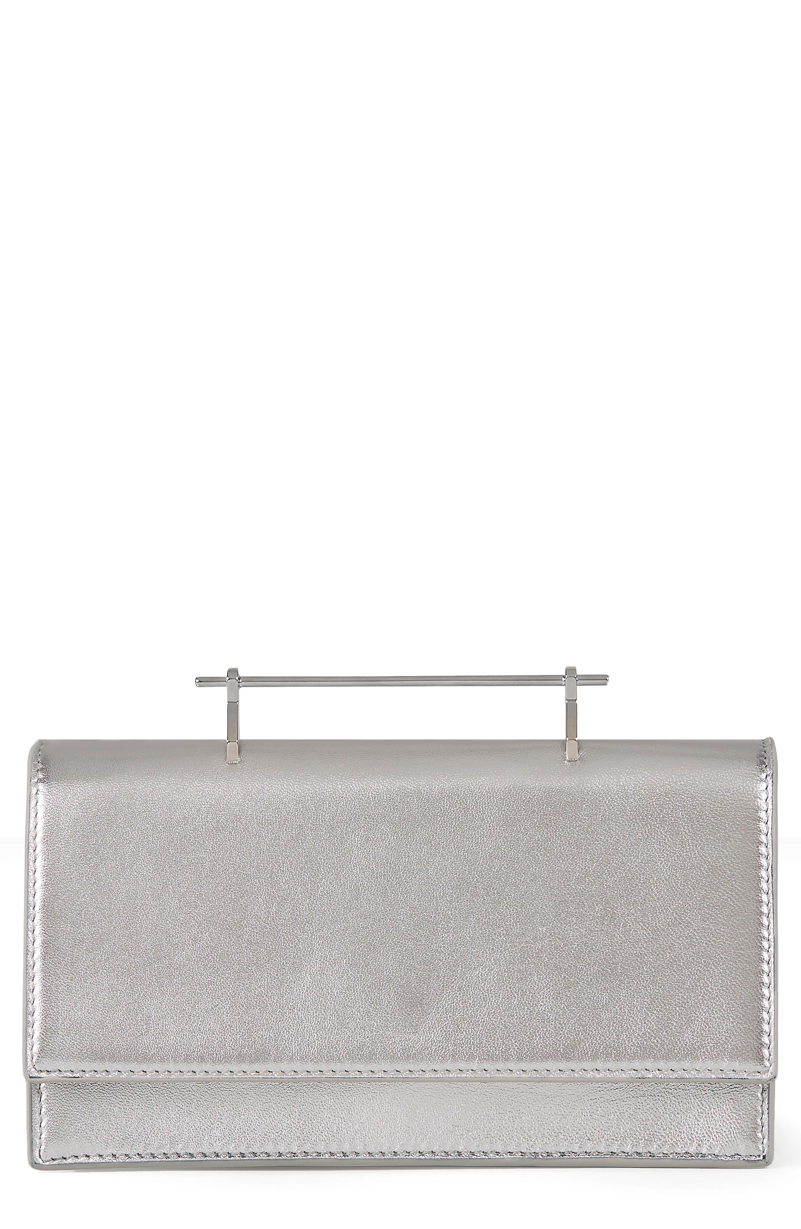 Alexia Metallic Leather Shoulder Bag,                         Main,                         color, Metallic Silver/ Silver