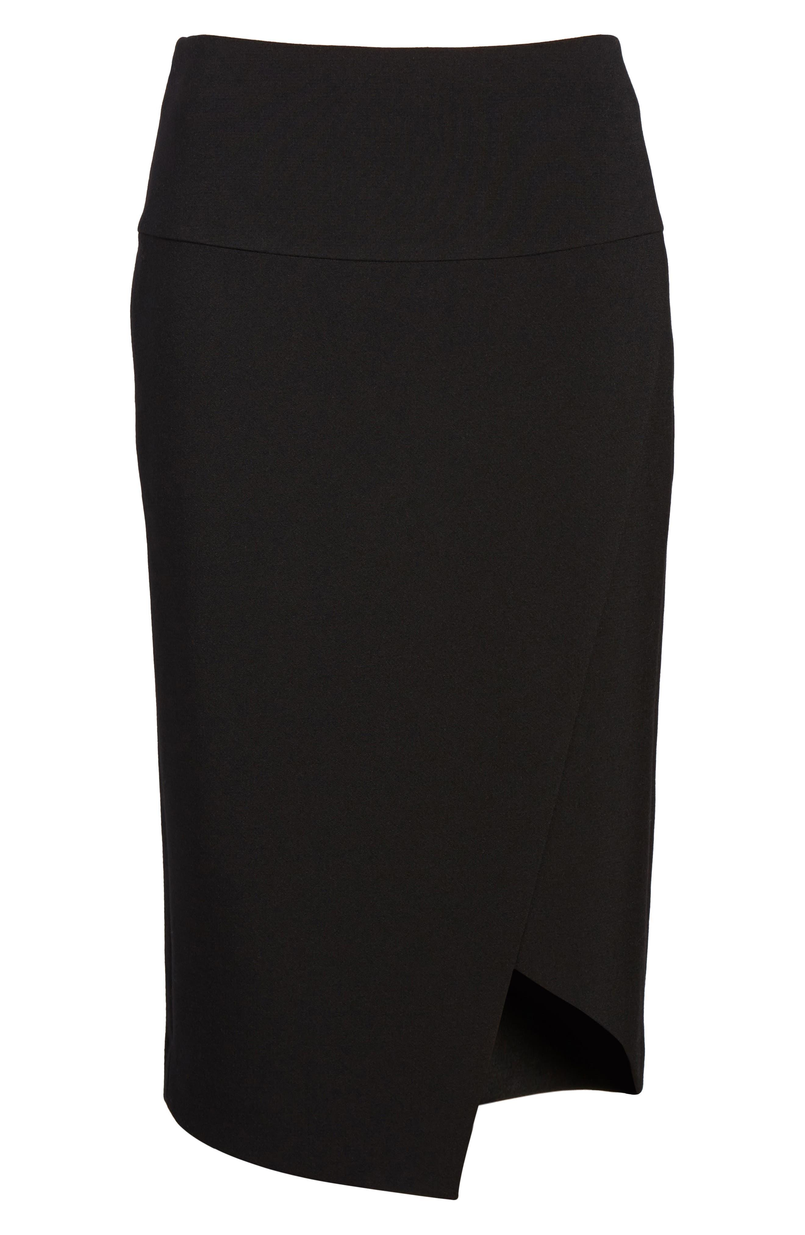 Asymmetrical Pencil Skirt,                             Alternate thumbnail 6, color,                             Black